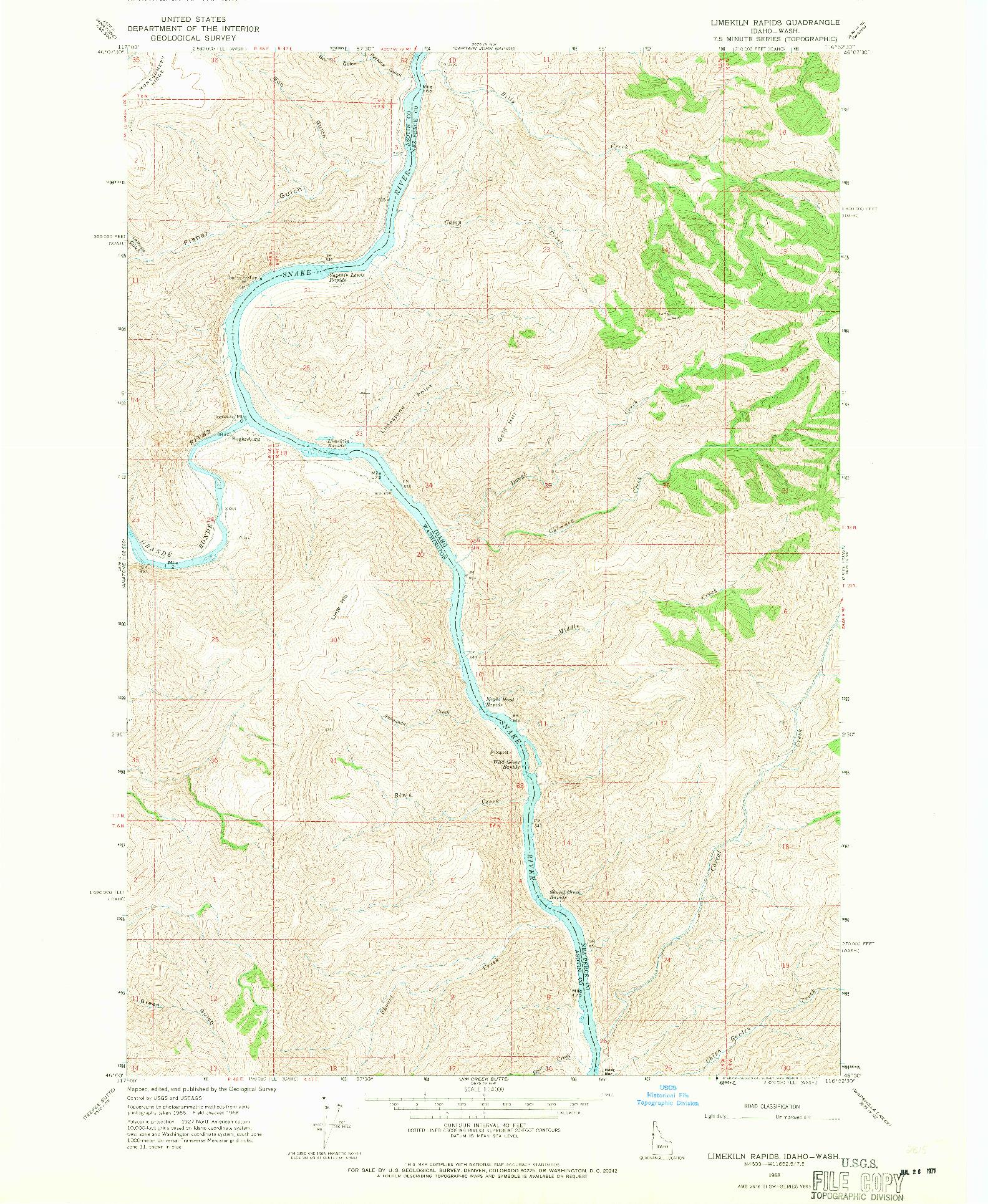 USGS 1:24000-SCALE QUADRANGLE FOR LIMEKILN RAPIDS, ID 1968