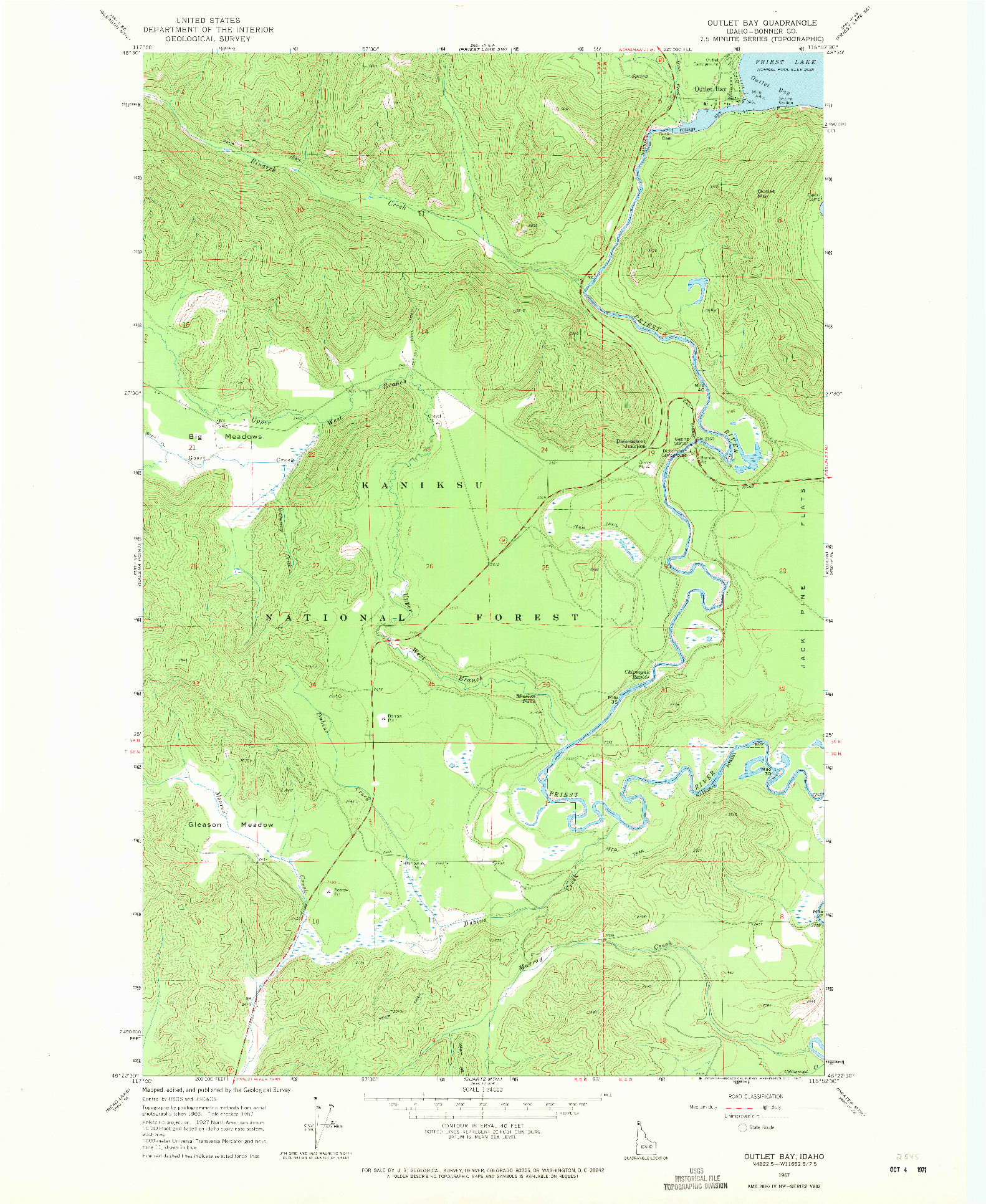 USGS 1:24000-SCALE QUADRANGLE FOR OUTLET BAY, ID 1967