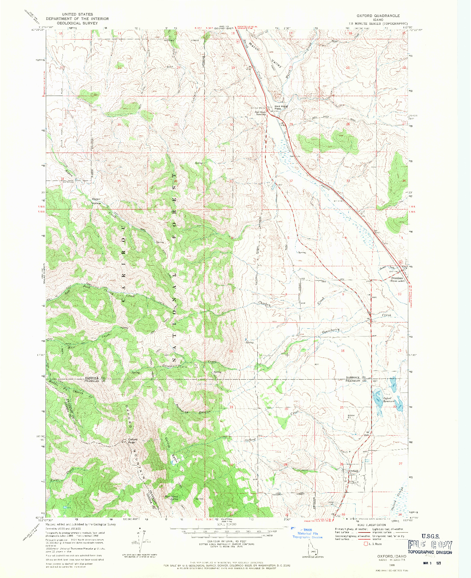 USGS 1:24000-SCALE QUADRANGLE FOR OXFORD, ID 1968