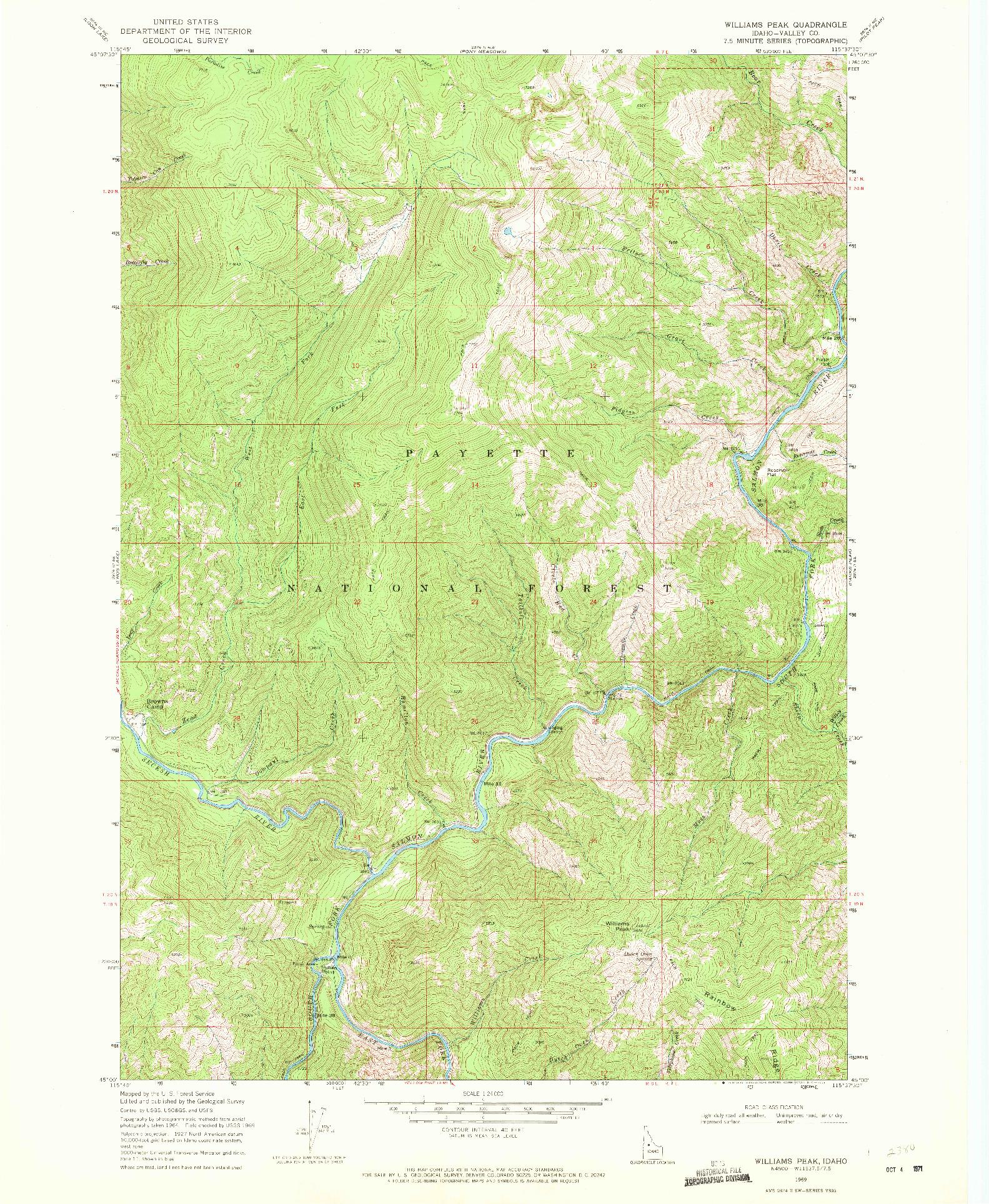 USGS 1:24000-SCALE QUADRANGLE FOR WILLIAMS PEAK, ID 1969