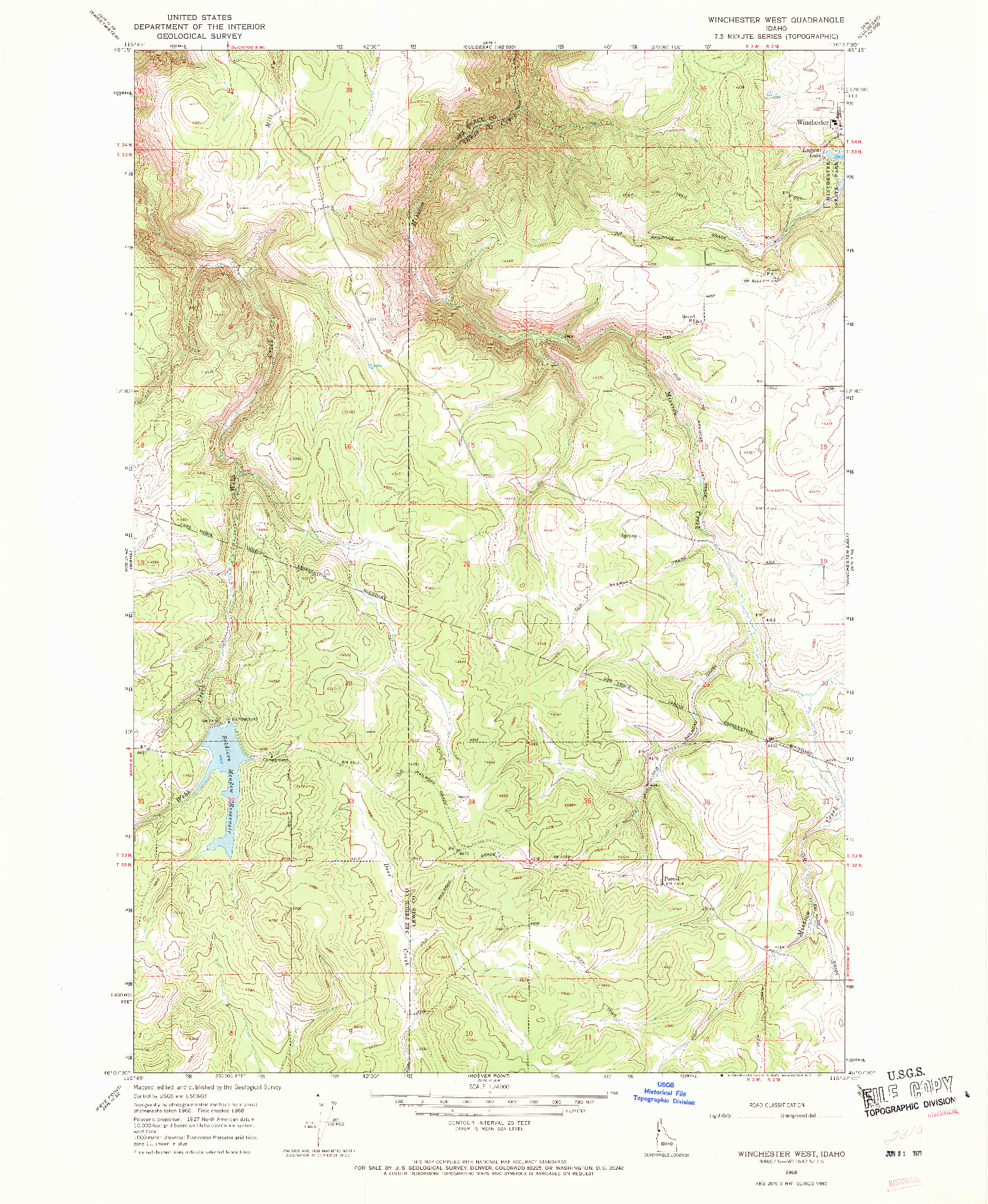 USGS 1:24000-SCALE QUADRANGLE FOR WINCHESTER WEST, ID 1968