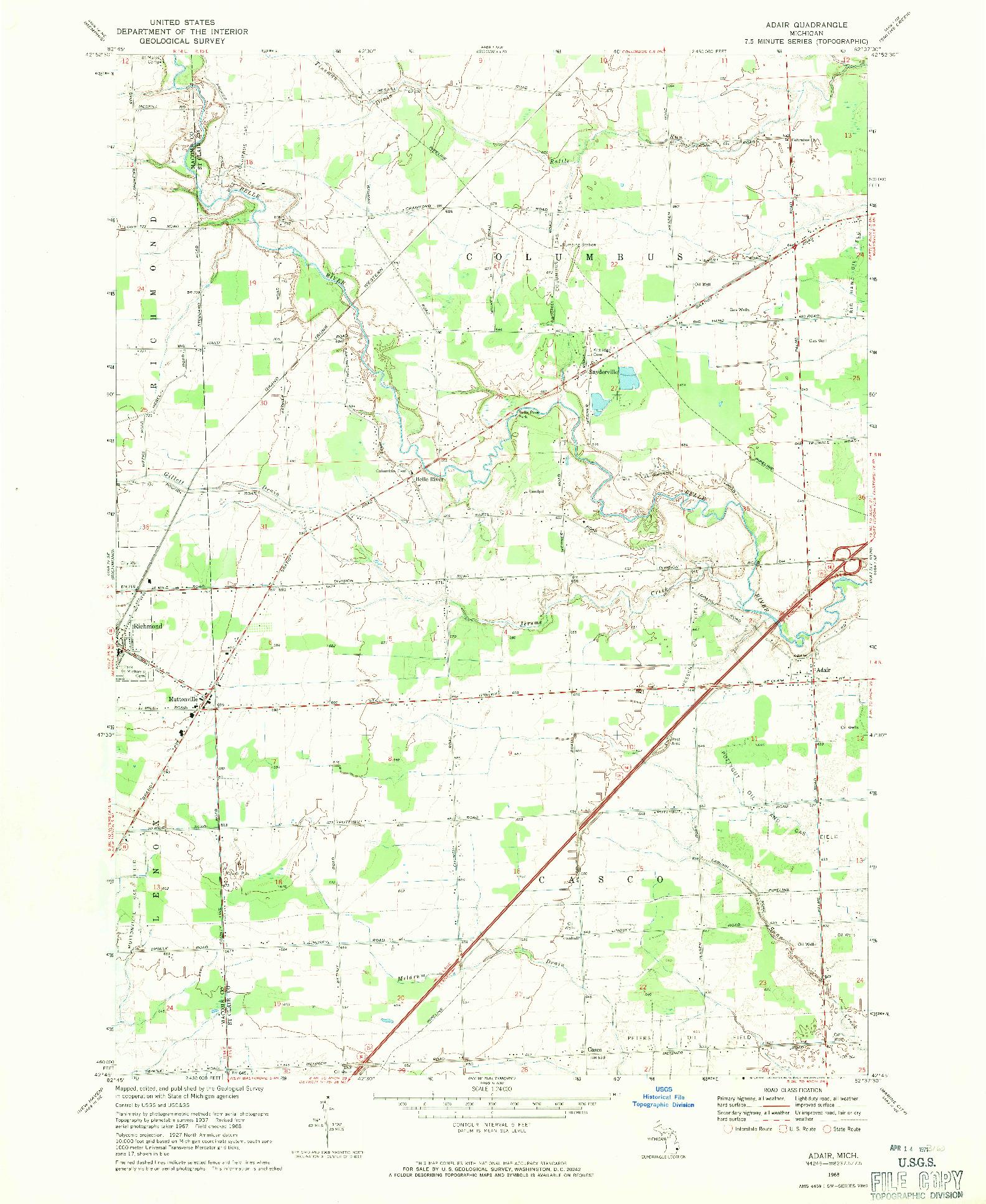 USGS 1:24000-SCALE QUADRANGLE FOR ADAIR, MI 1968
