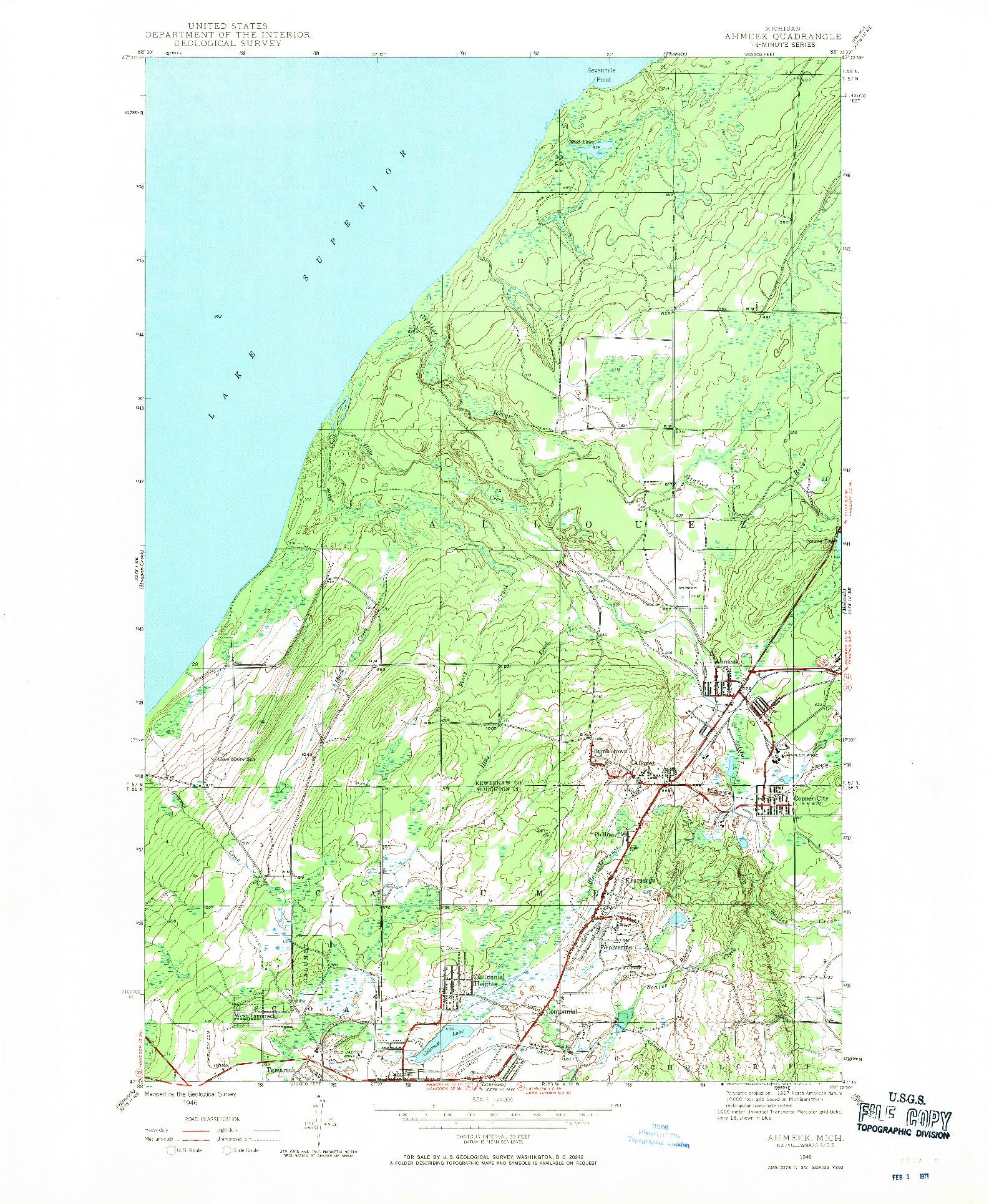 USGS 1:24000-SCALE QUADRANGLE FOR AHMEEK, MI 1946