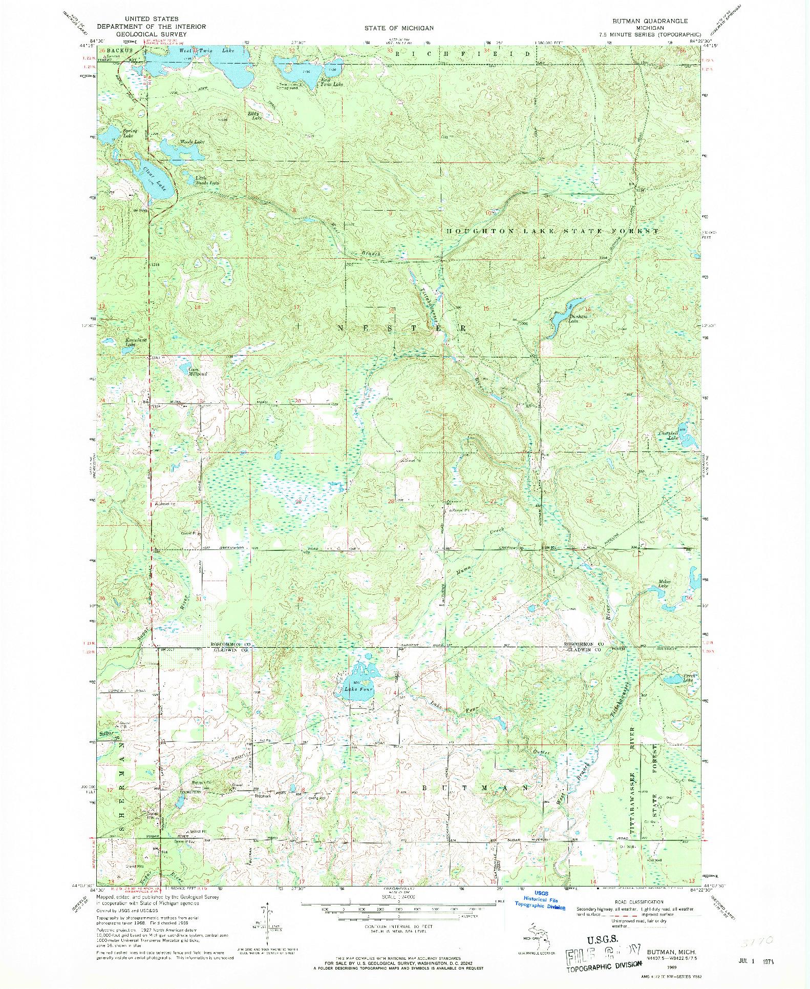 USGS 1:24000-SCALE QUADRANGLE FOR BURTMAN, MI 1969