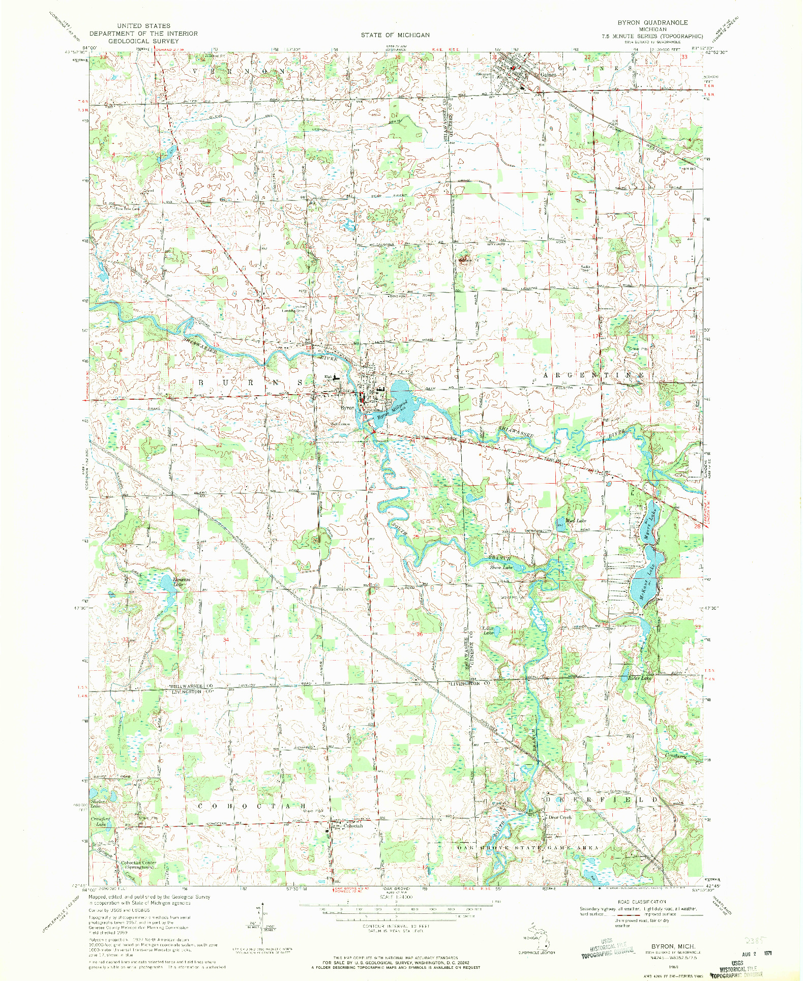 USGS 1:24000-SCALE QUADRANGLE FOR BYRON, MI 1969