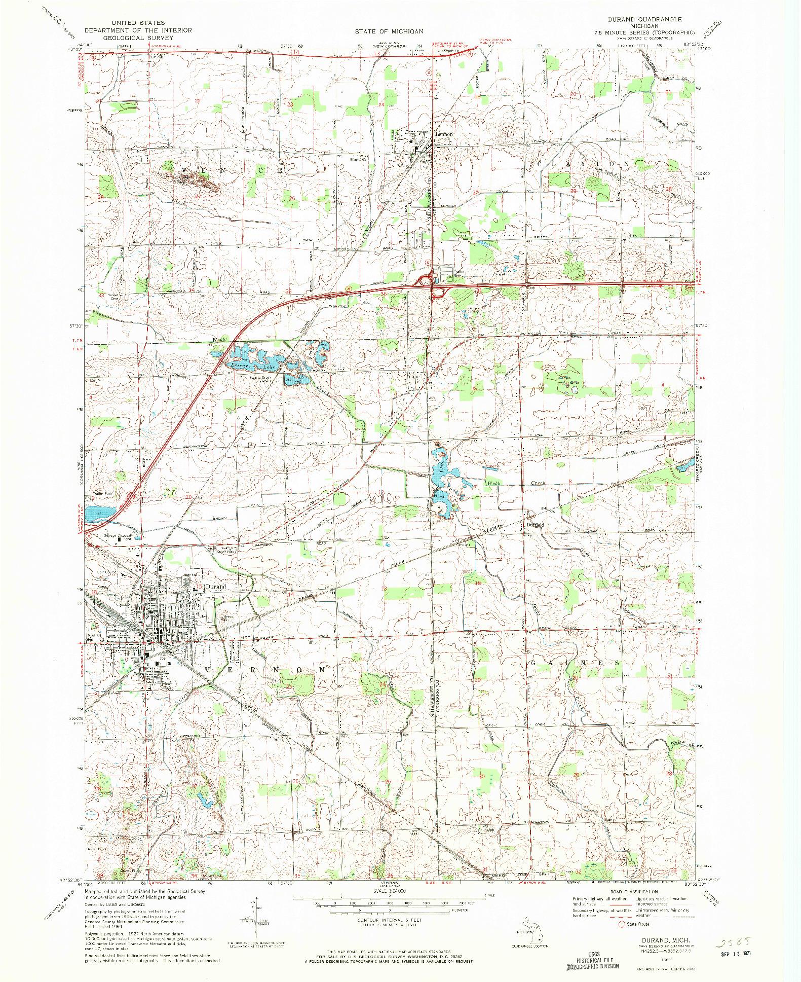 USGS 1:24000-SCALE QUADRANGLE FOR DURAND, MI 1969