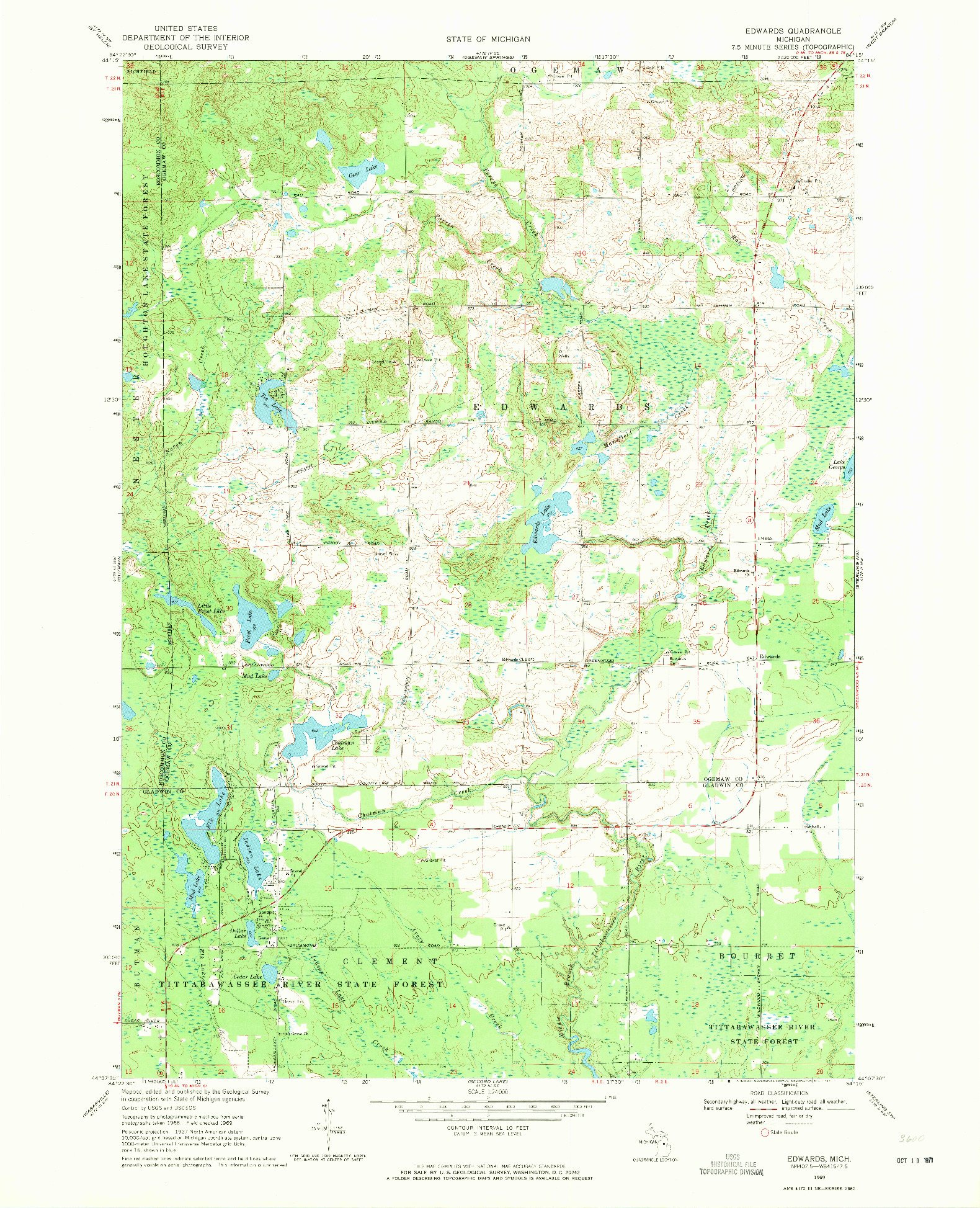 USGS 1:24000-SCALE QUADRANGLE FOR EDWARDS, MI 1969
