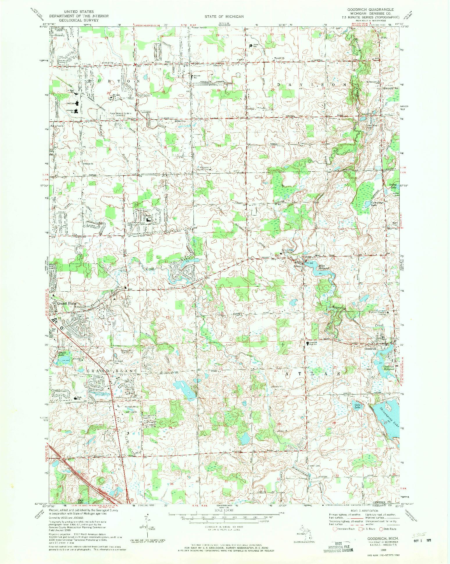 USGS 1:24000-SCALE QUADRANGLE FOR GOODRICH, MI 1969