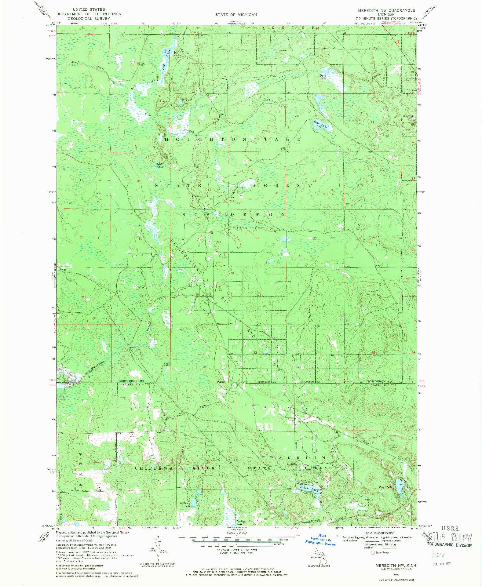 USGS 1:24000-SCALE QUADRANGLE FOR MEREDITH NW, MI 1969