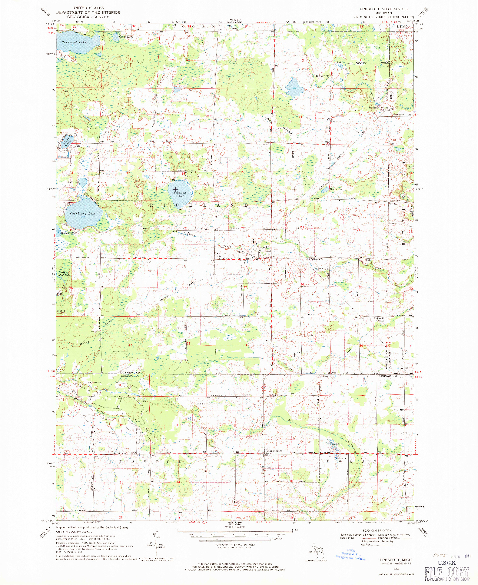 USGS 1:24000-SCALE QUADRANGLE FOR PRESCOTT, MI 1968