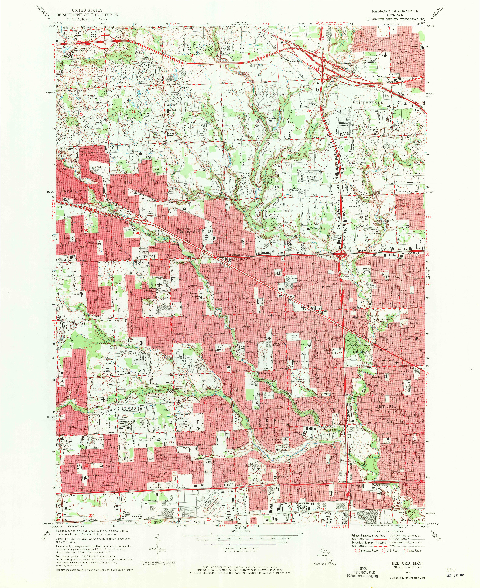 USGS 1:24000-SCALE QUADRANGLE FOR REDFORD, MI 1968