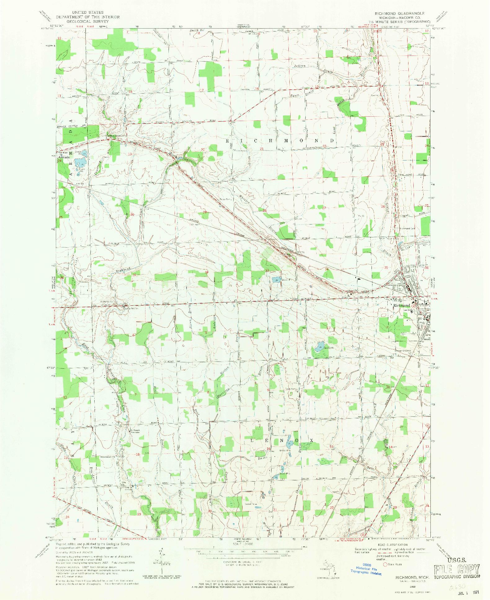 USGS 1:24000-SCALE QUADRANGLE FOR RICHMOND, MI 1968