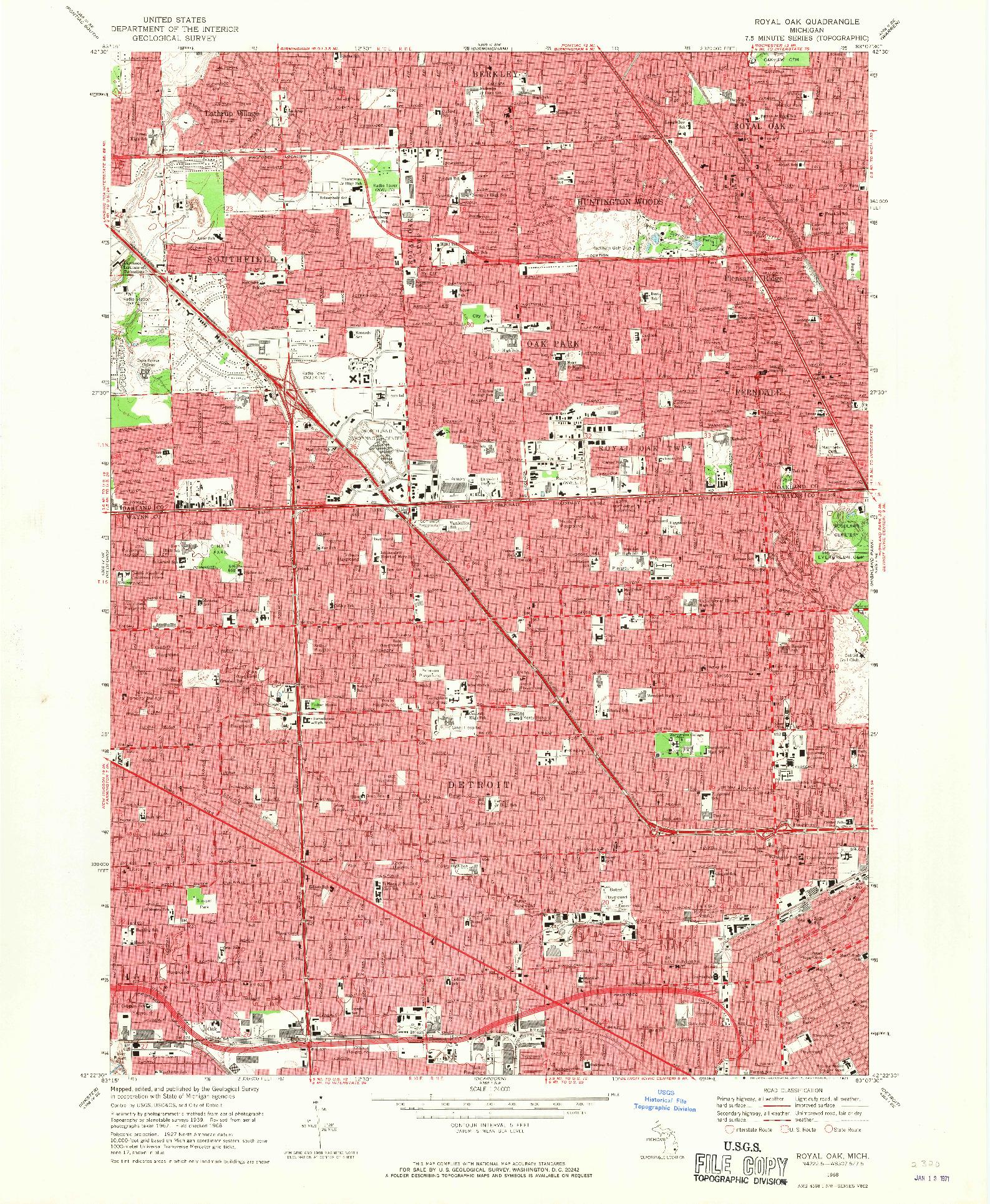 USGS 1:24000-SCALE QUADRANGLE FOR ROYAL OAK, MI 1968