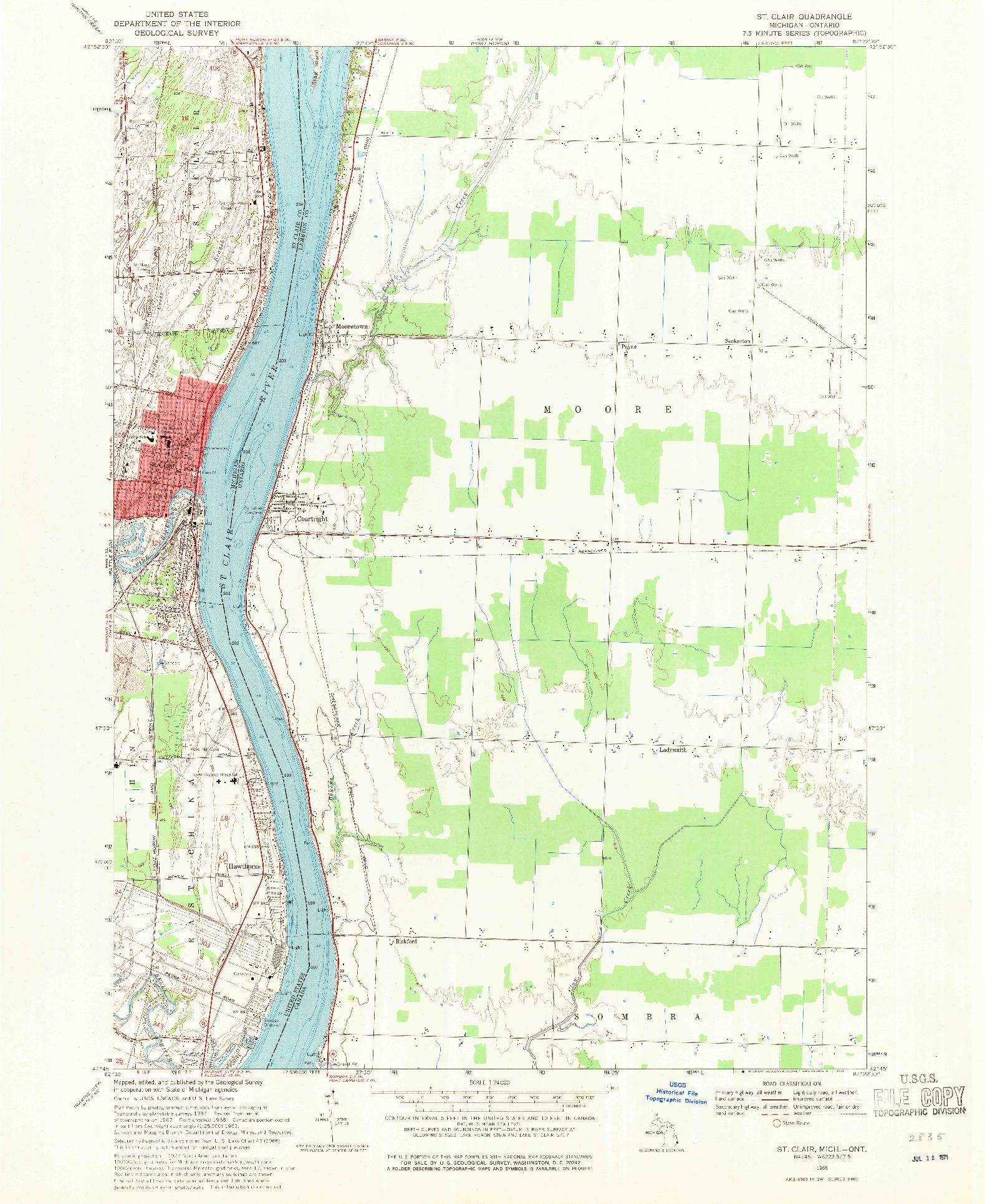 USGS 1:24000-SCALE QUADRANGLE FOR ST. CLAIR, MI 1968