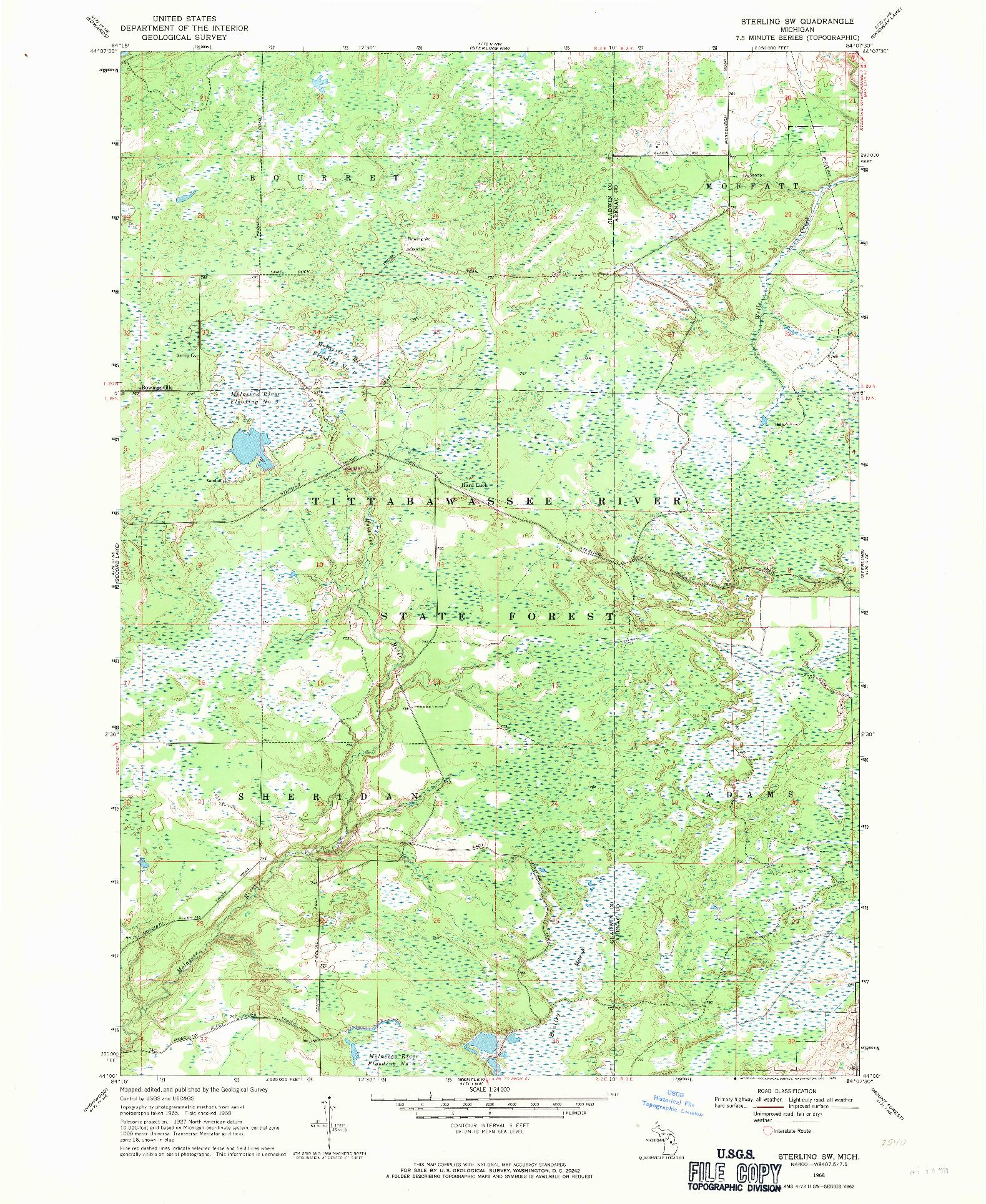 USGS 1:24000-SCALE QUADRANGLE FOR STERLING SW, MI 1968
