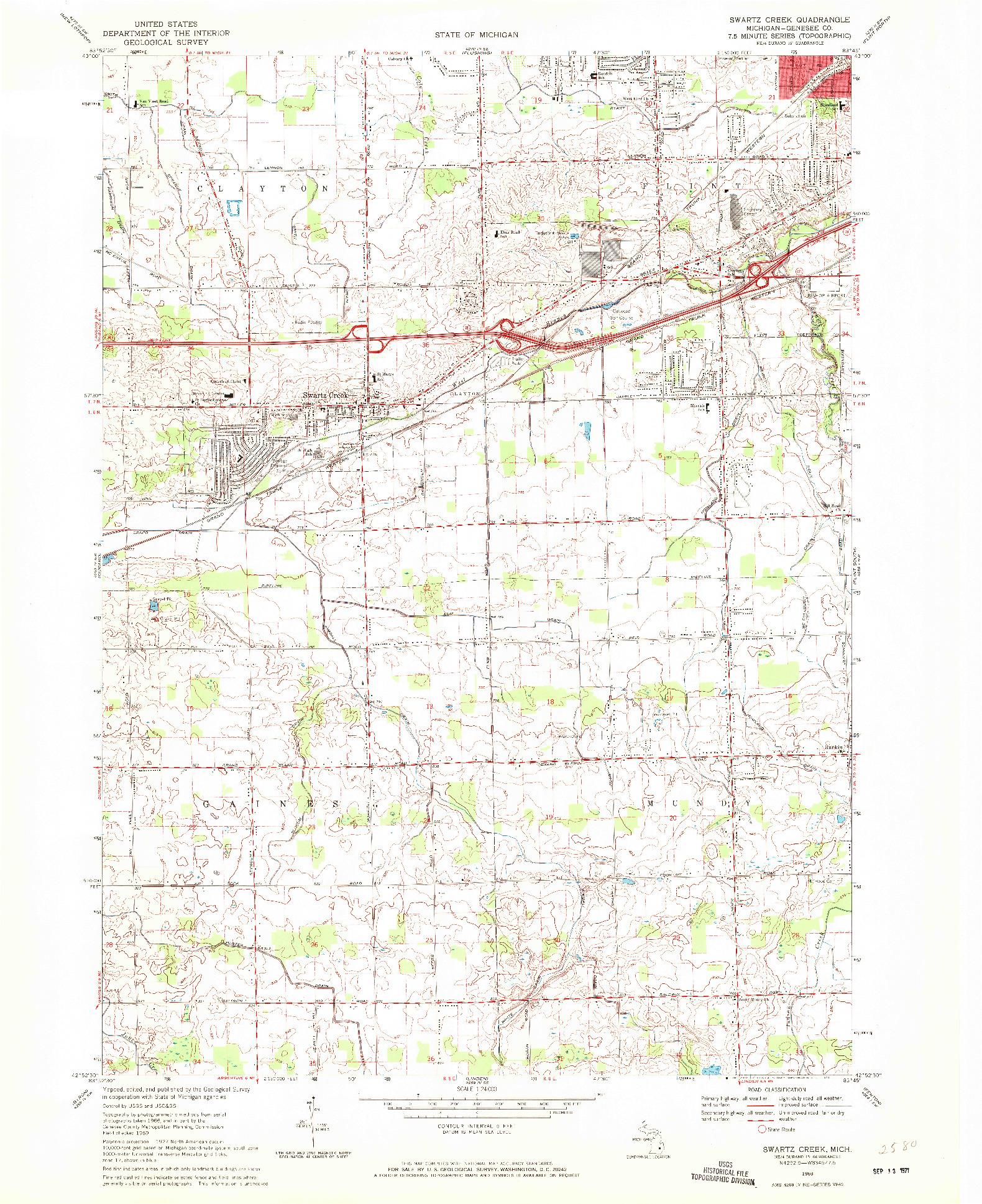 USGS 1:24000-SCALE QUADRANGLE FOR SWARTZ CREEK, MI 1969