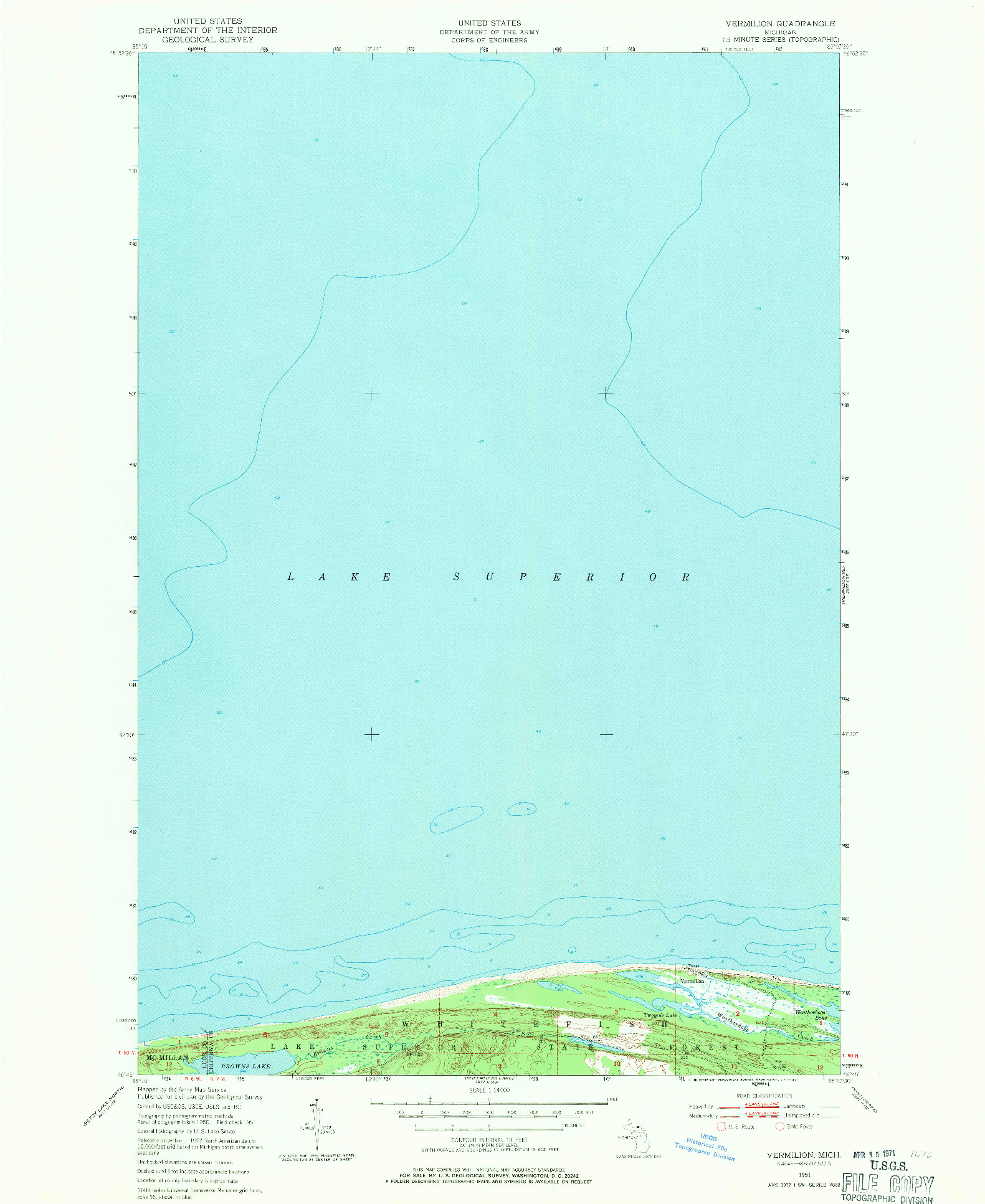 USGS 1:24000-SCALE QUADRANGLE FOR VERMILION, MI 1951