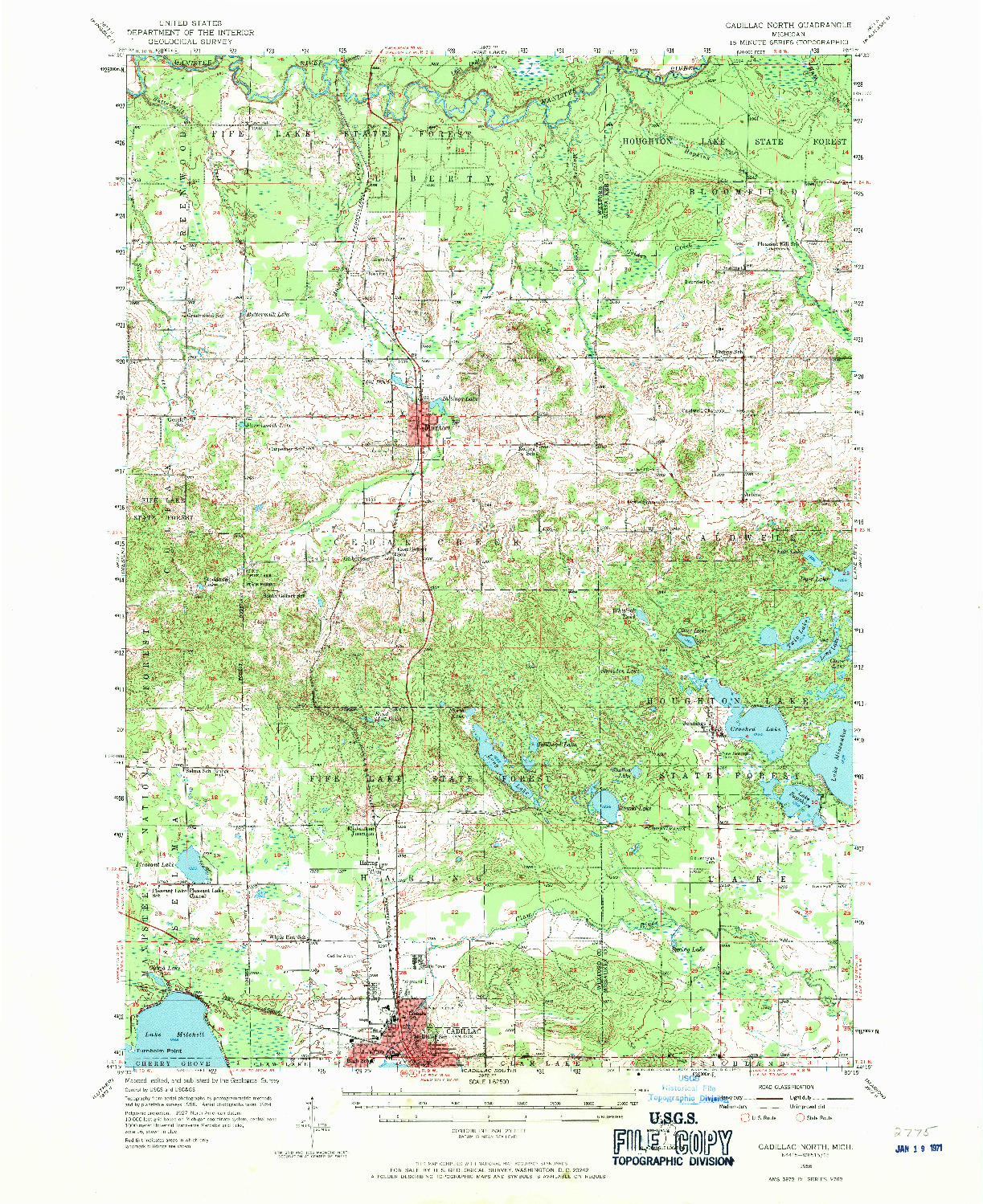 USGS 1:62500-SCALE QUADRANGLE FOR CADILLAC NORTH, MI 1956