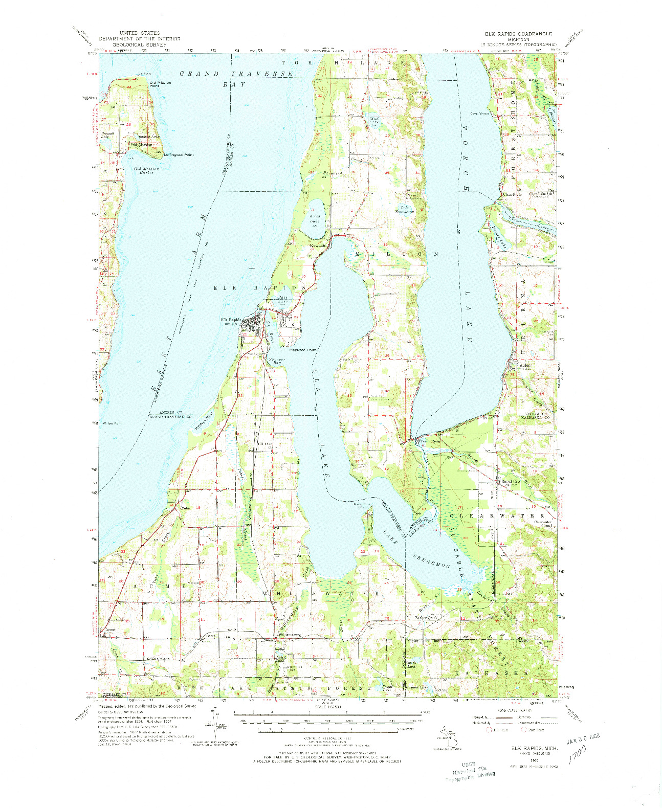 USGS 1:62500-SCALE QUADRANGLE FOR ELK RAPIDS, MI 1957