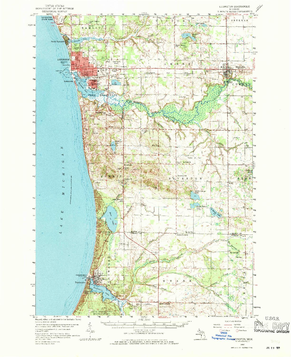 USGS 1:62500-SCALE QUADRANGLE FOR LUDINGTON, MI 1959