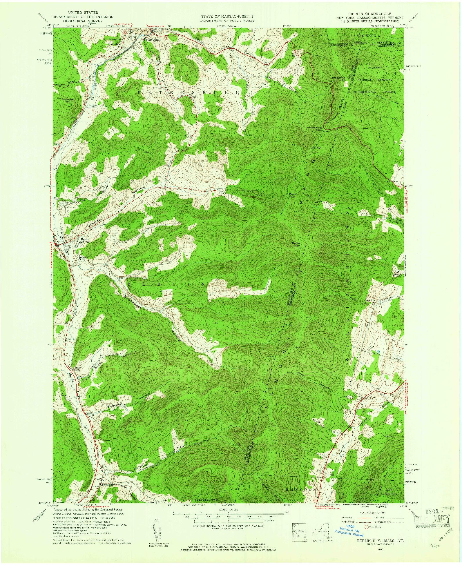 USGS 1:24000-SCALE QUADRANGLE FOR BERLIN, NY 1960