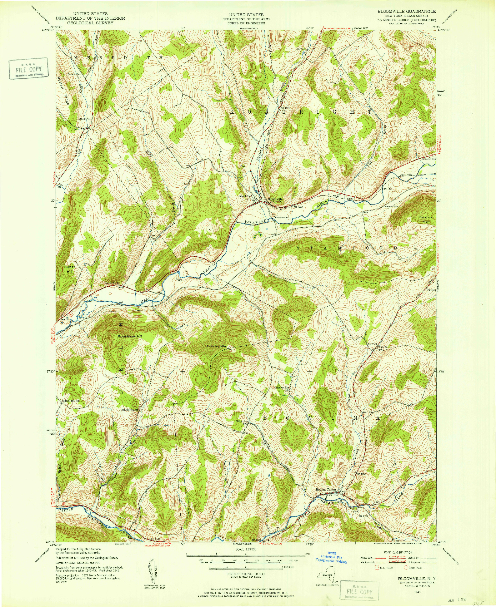 USGS 1:24000-SCALE QUADRANGLE FOR BLOOMVILLE, NY 1943