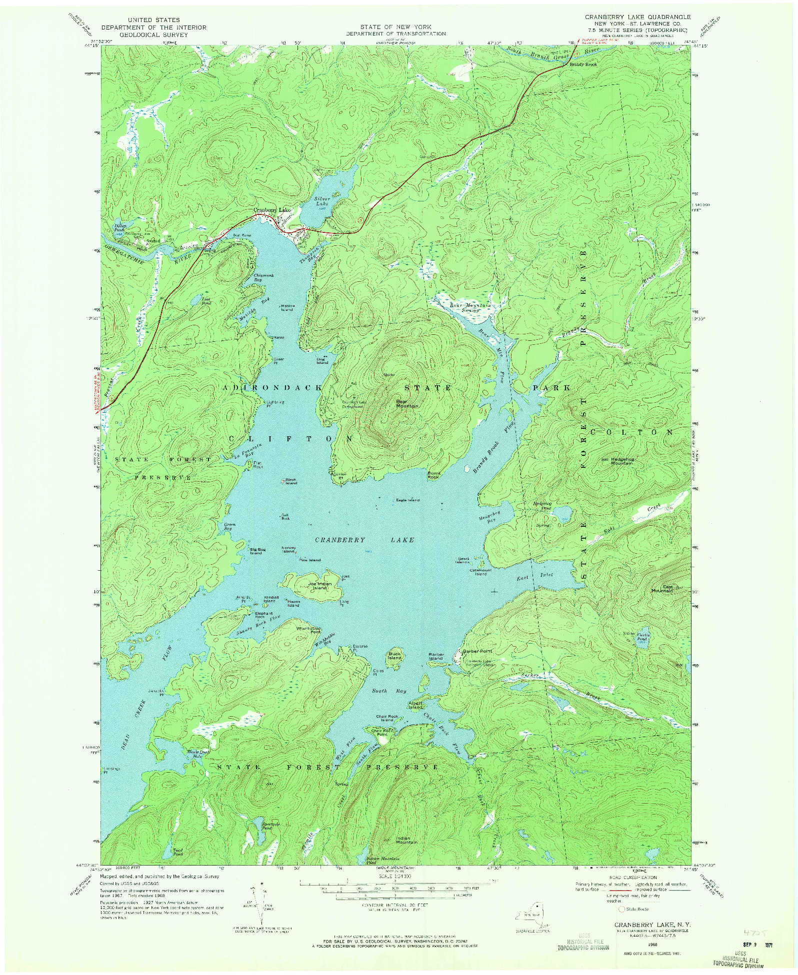 USGS 1:24000-SCALE QUADRANGLE FOR CRANBERRY LAKE, NY 1968
