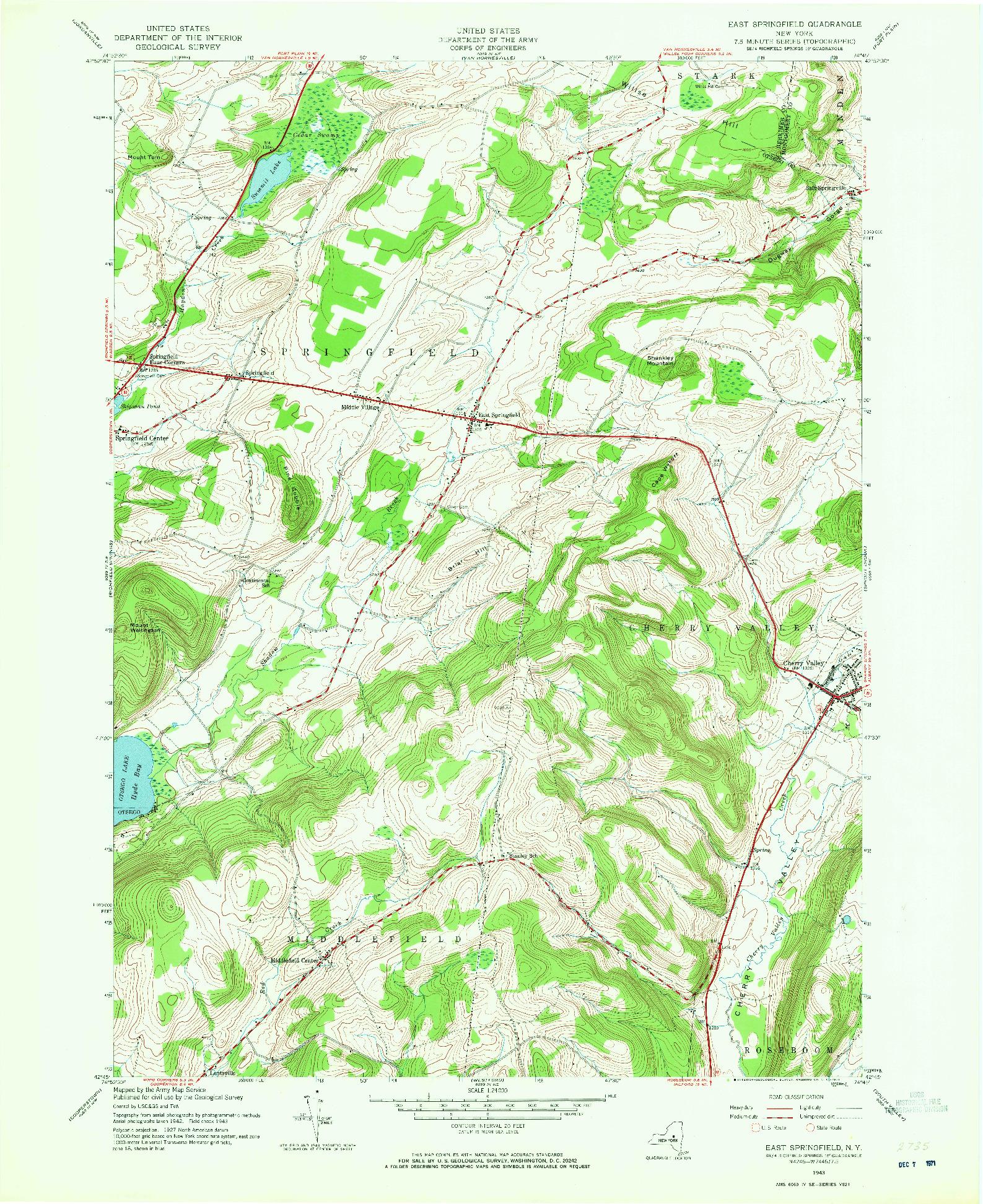 USGS 1:24000-SCALE QUADRANGLE FOR EAST SPRINGFIELD, NY 1943