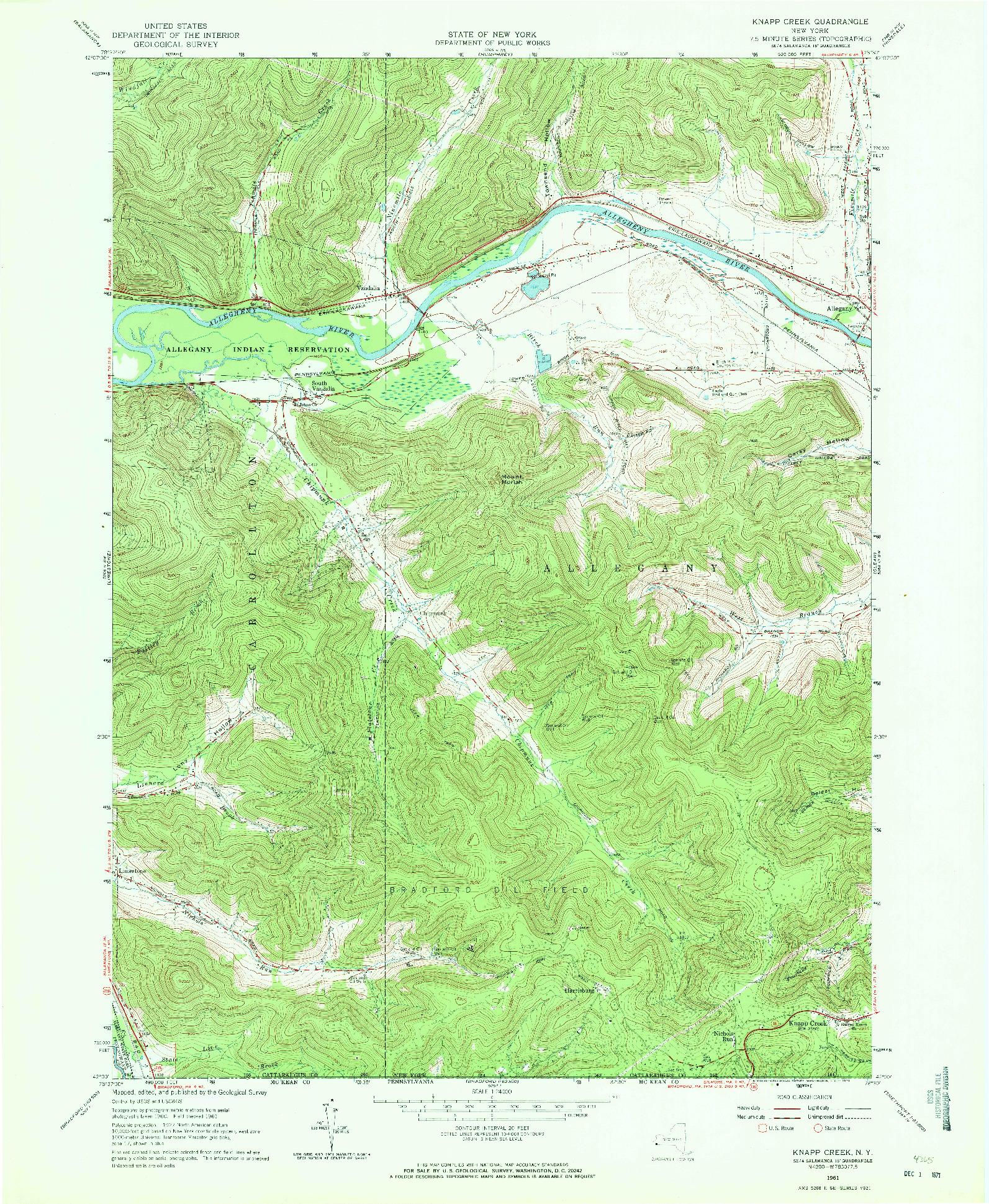 USGS 1:24000-SCALE QUADRANGLE FOR KNAPP CREEK, NY 1961
