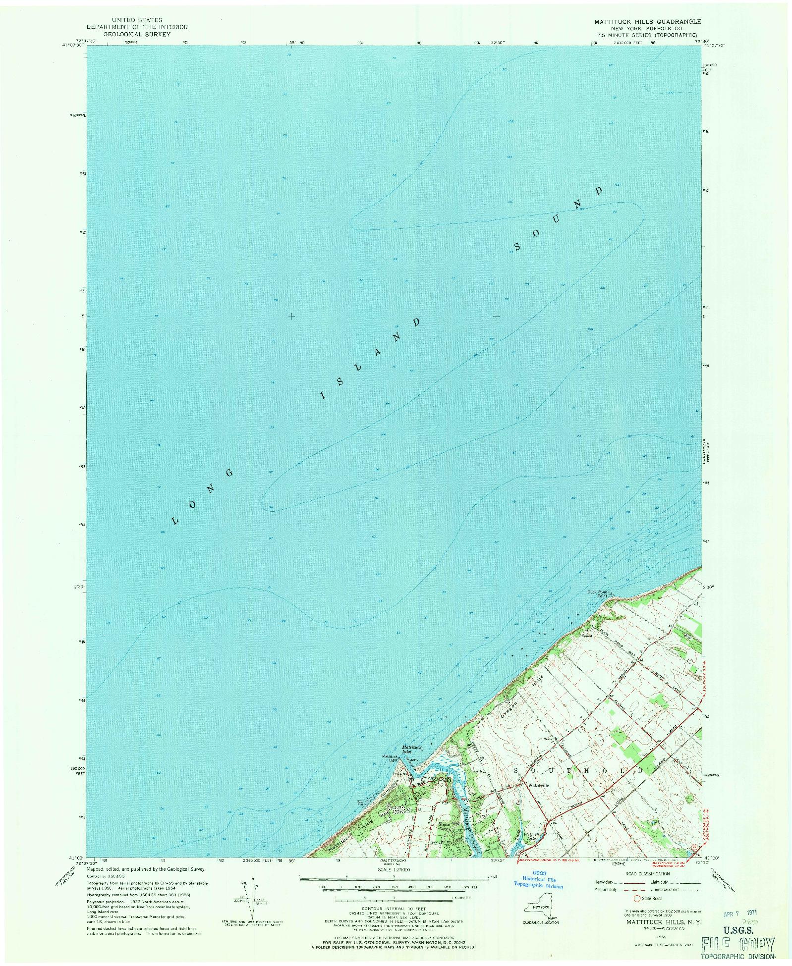 USGS 1:24000-SCALE QUADRANGLE FOR MATTITUCK HILLS, NY 1956