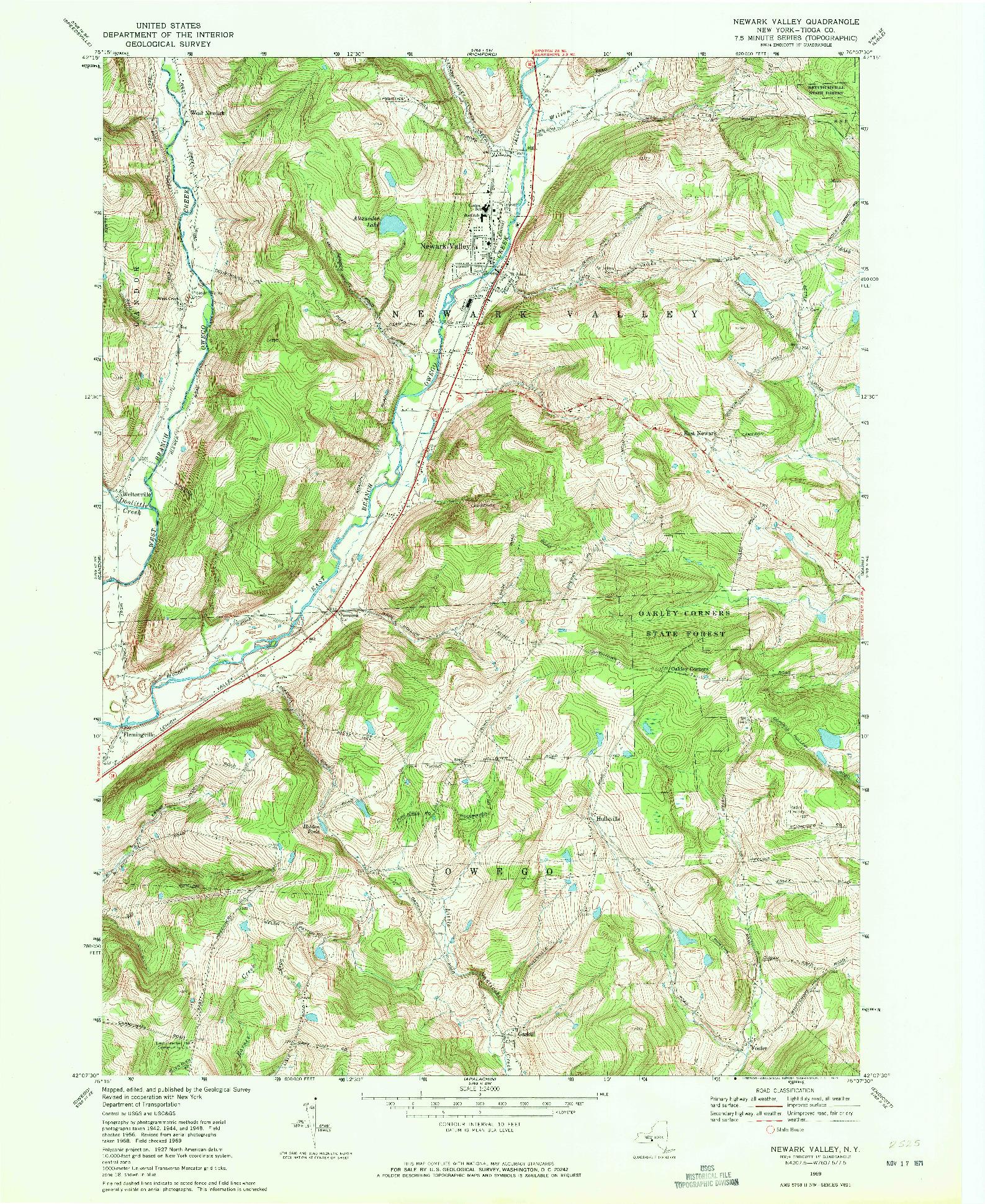 USGS 1:24000-SCALE QUADRANGLE FOR NEWARK VALLEY, NY 1969
