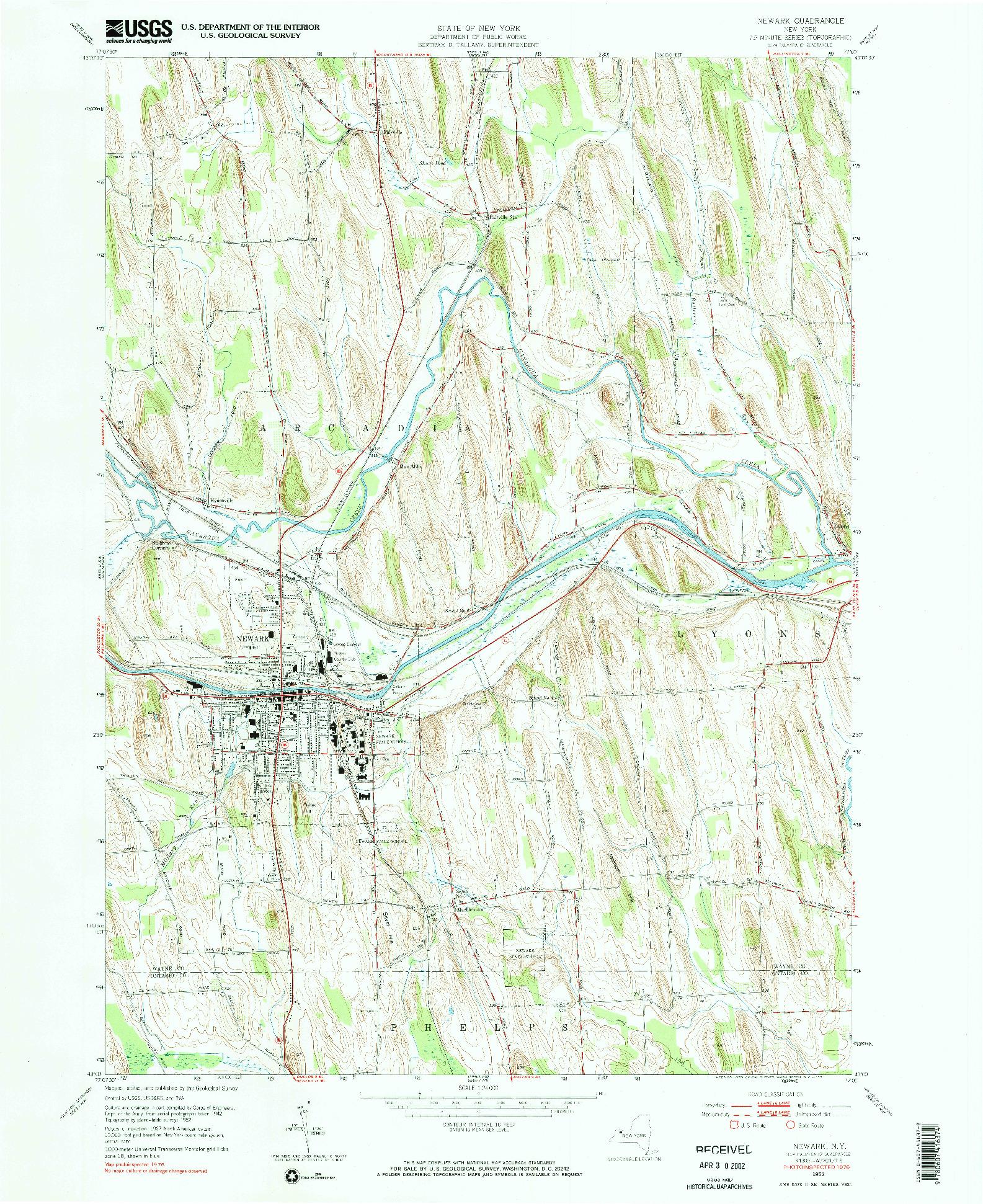USGS 1:24000-SCALE QUADRANGLE FOR NEWARK, NY 1952