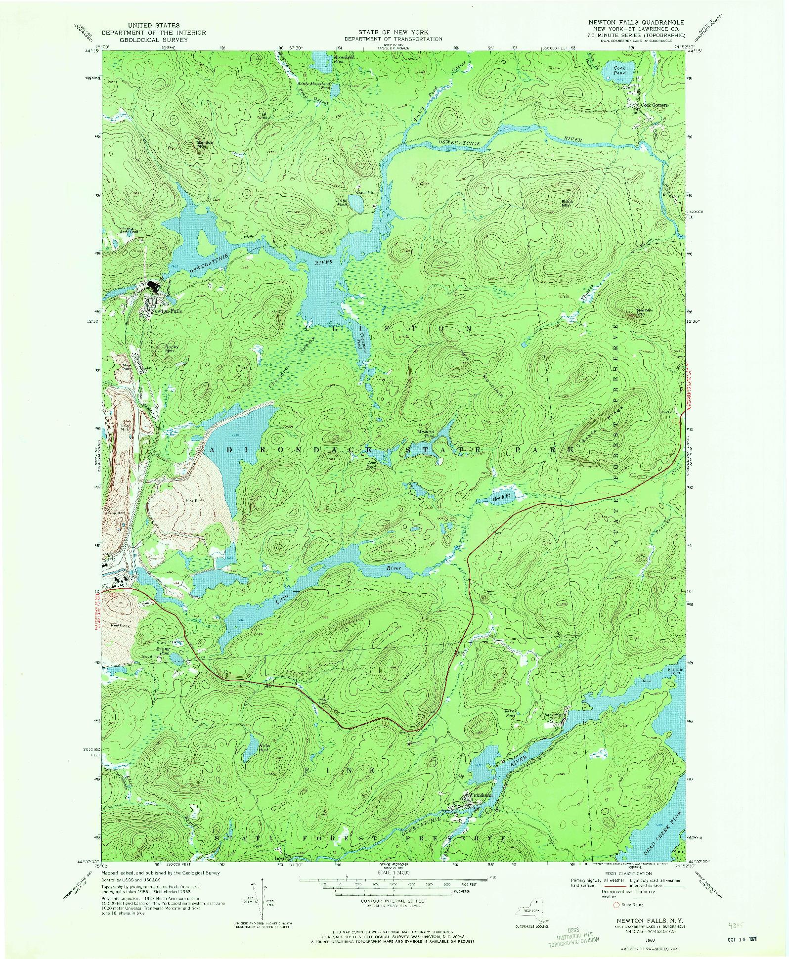 USGS 1:24000-SCALE QUADRANGLE FOR NEWTON FALLS, NY 1968