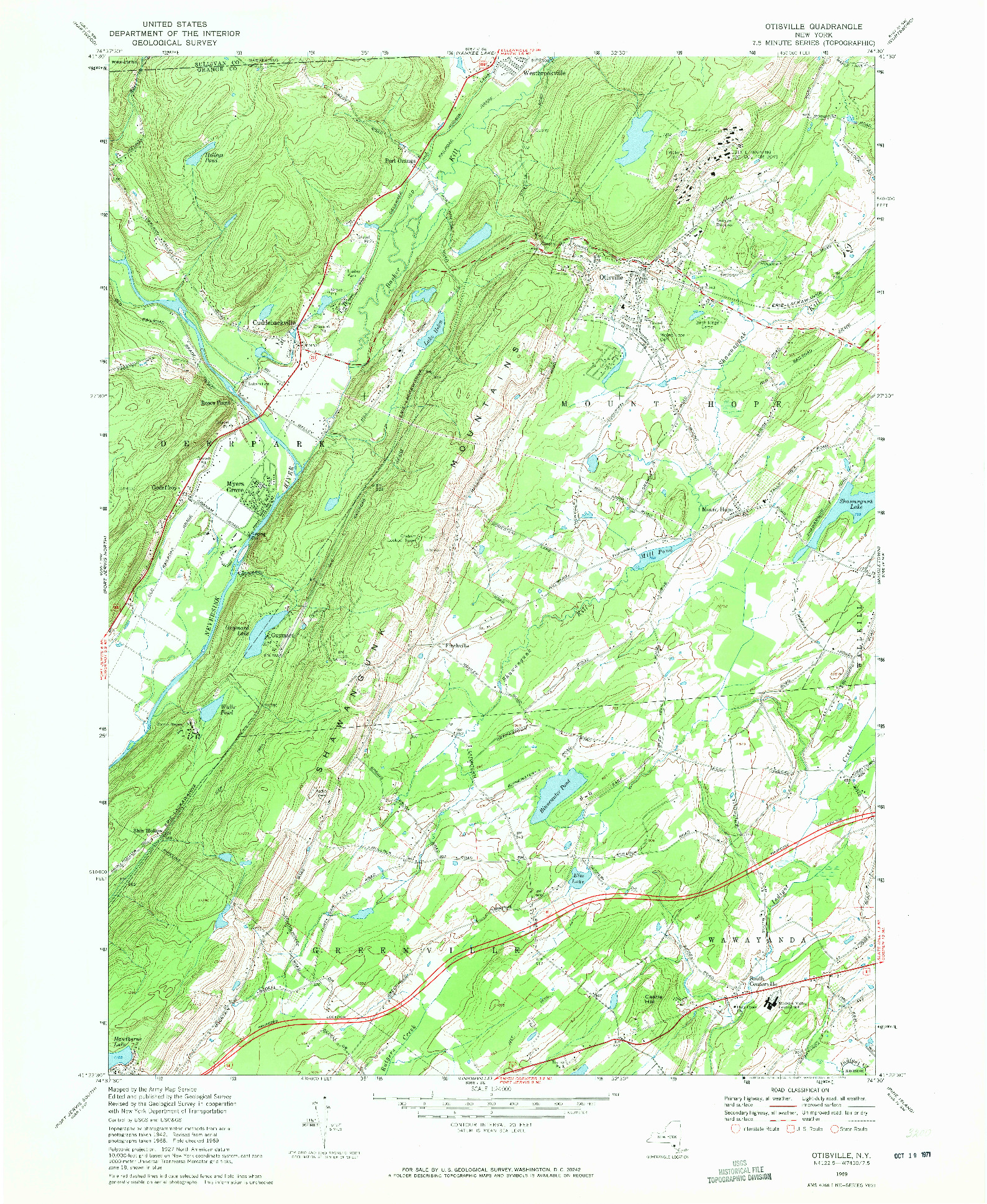 USGS 1:24000-SCALE QUADRANGLE FOR OTISVILLE, NY 1969