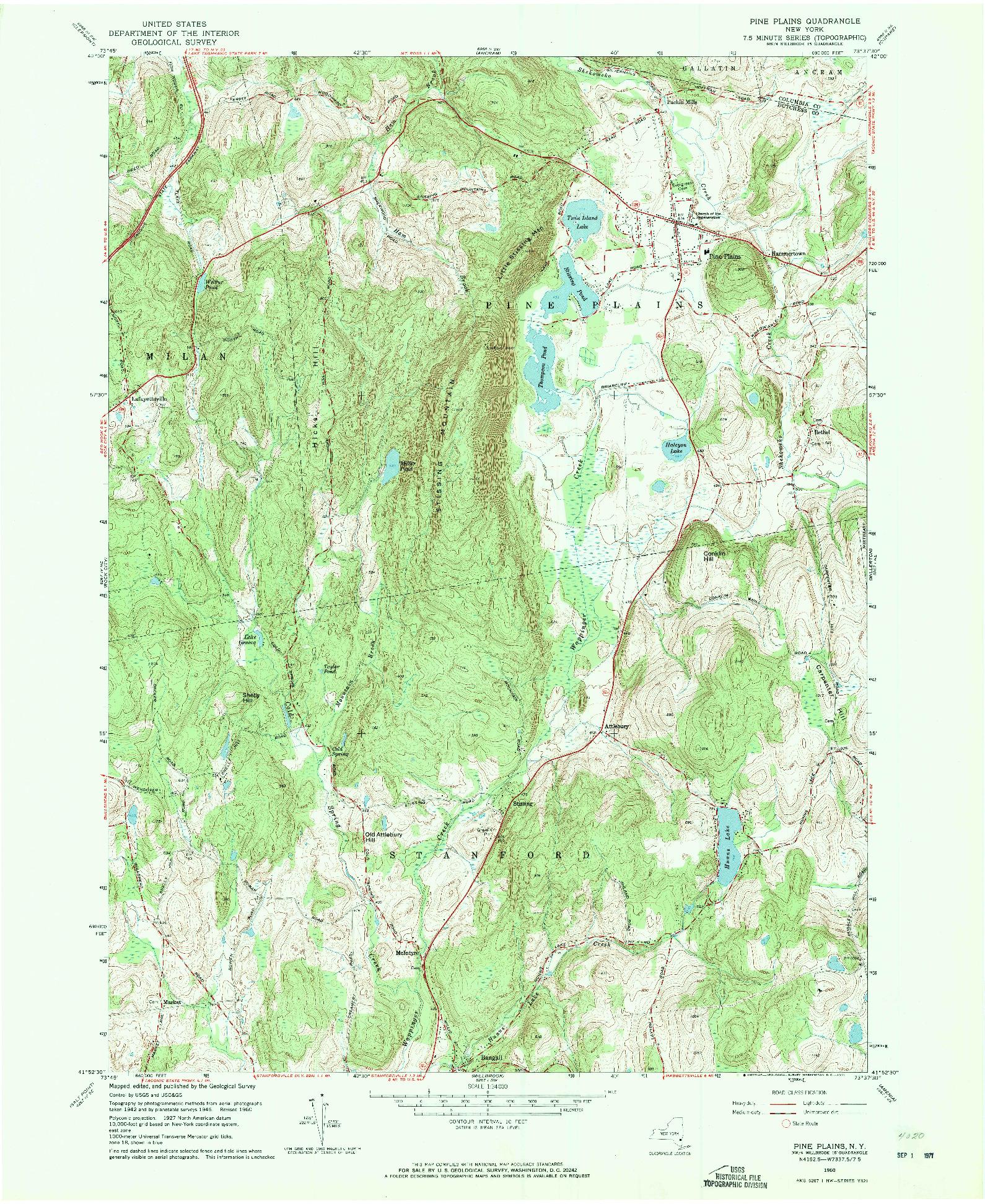 USGS 1:24000-SCALE QUADRANGLE FOR PINE PLAINS, NY 1960