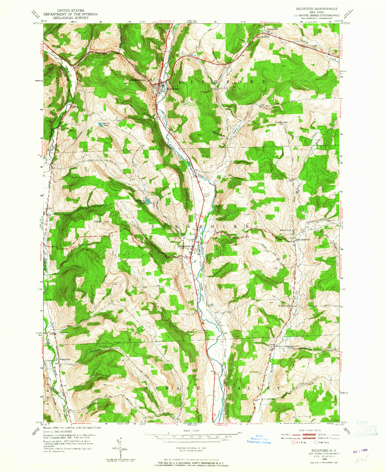 USGS 1:24000-SCALE QUADRANGLE FOR RICHFORD, NY 1950