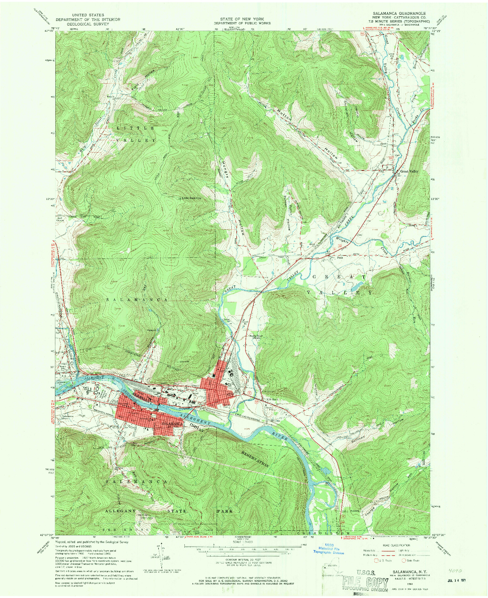 USGS 1:24000-SCALE QUADRANGLE FOR SALAMANCA, NY 1961