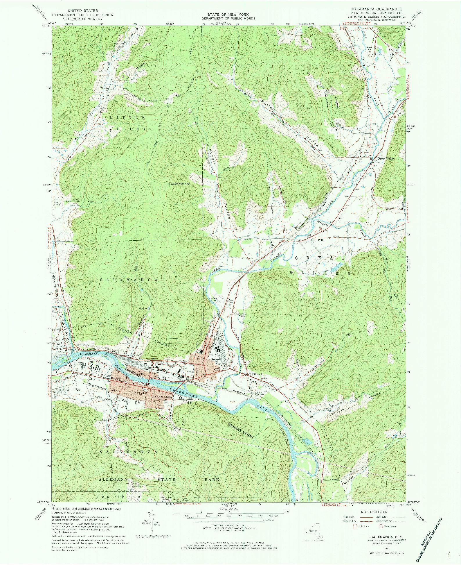 USGS 1:24000-SCALE QUADRANGLE FOR SALAMANCA, NY 1961