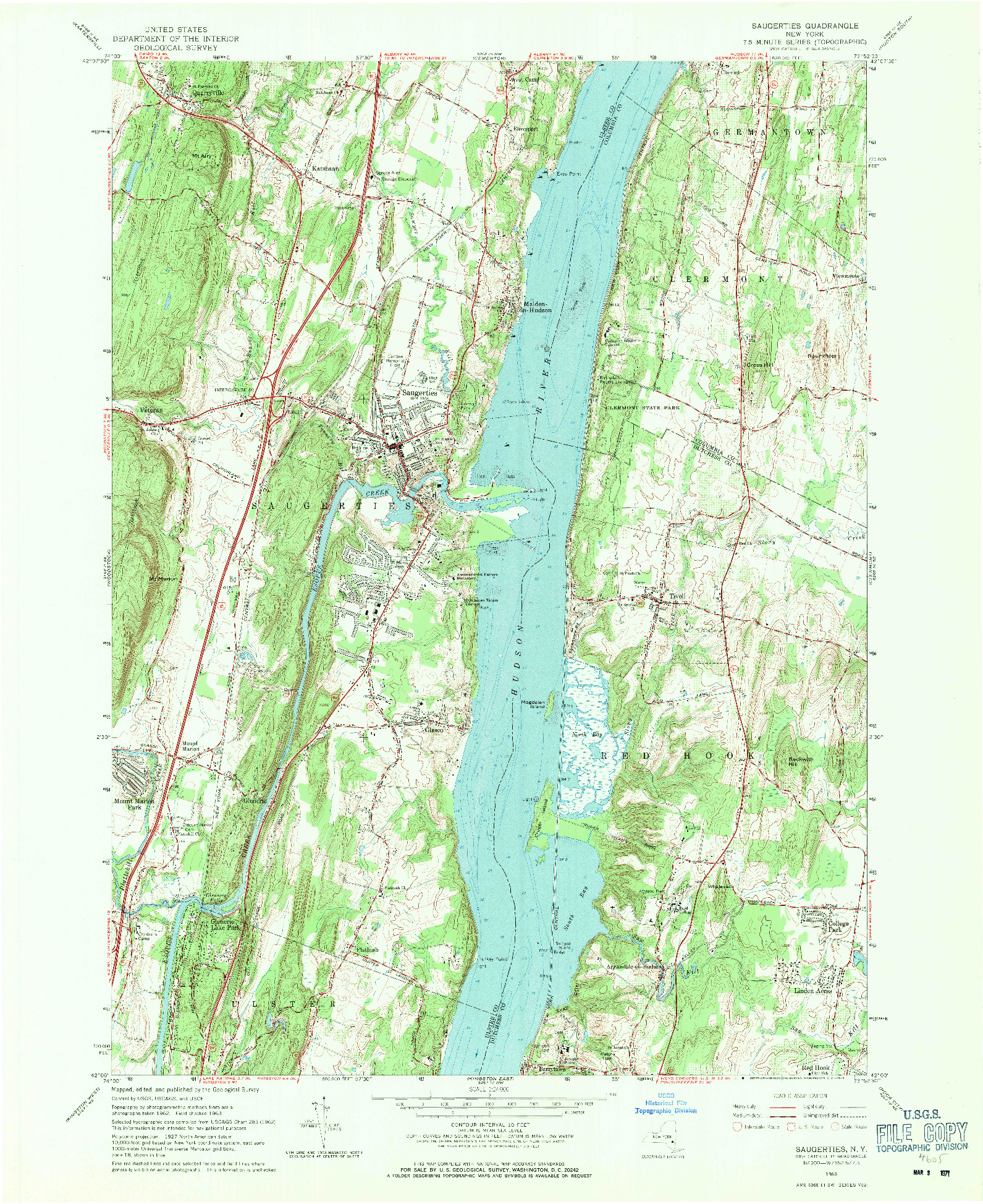 USGS 1:24000-SCALE QUADRANGLE FOR SAUGERTIES, NY 1963
