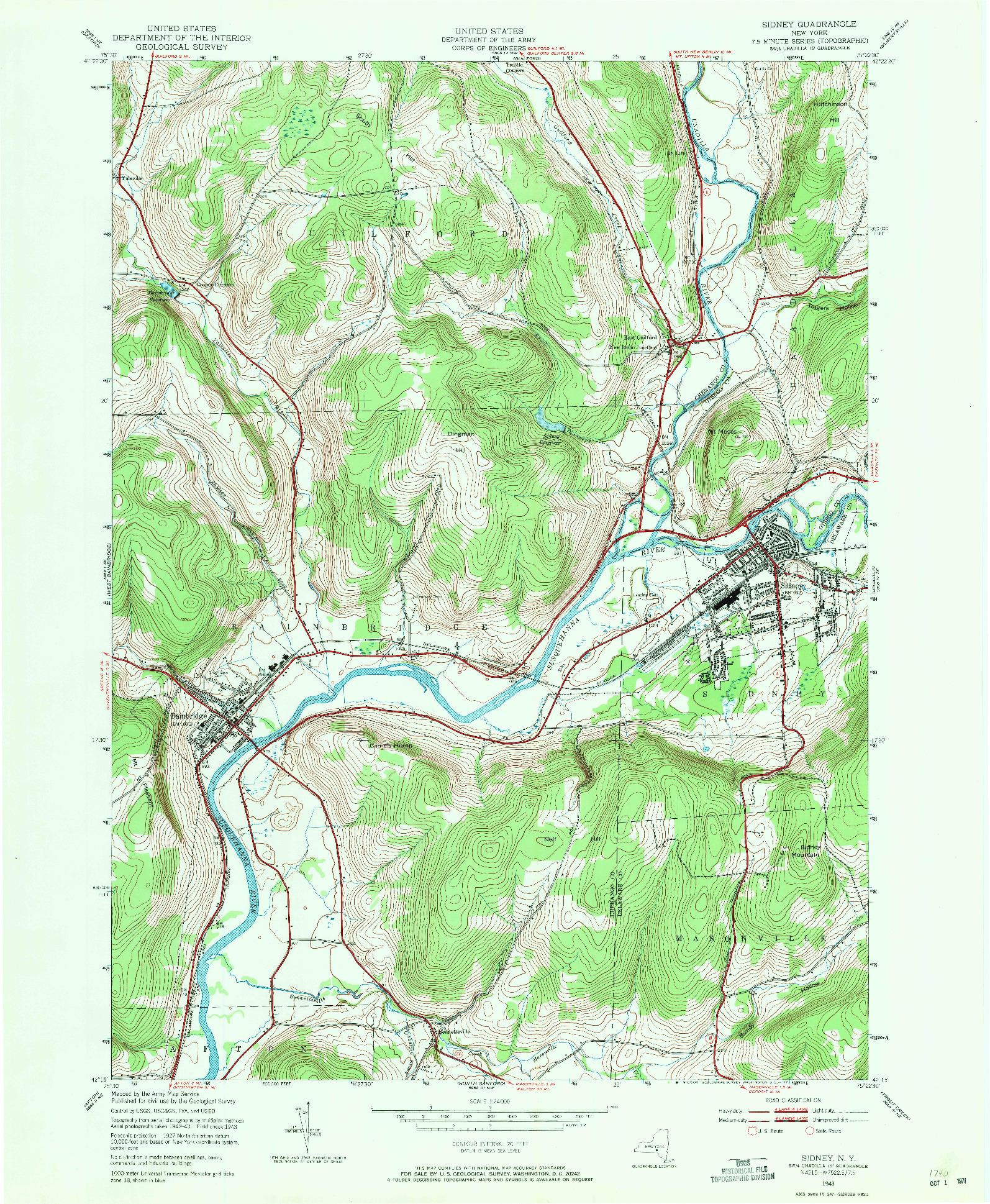 USGS 1:24000-SCALE QUADRANGLE FOR SIDNEY, NY 1943
