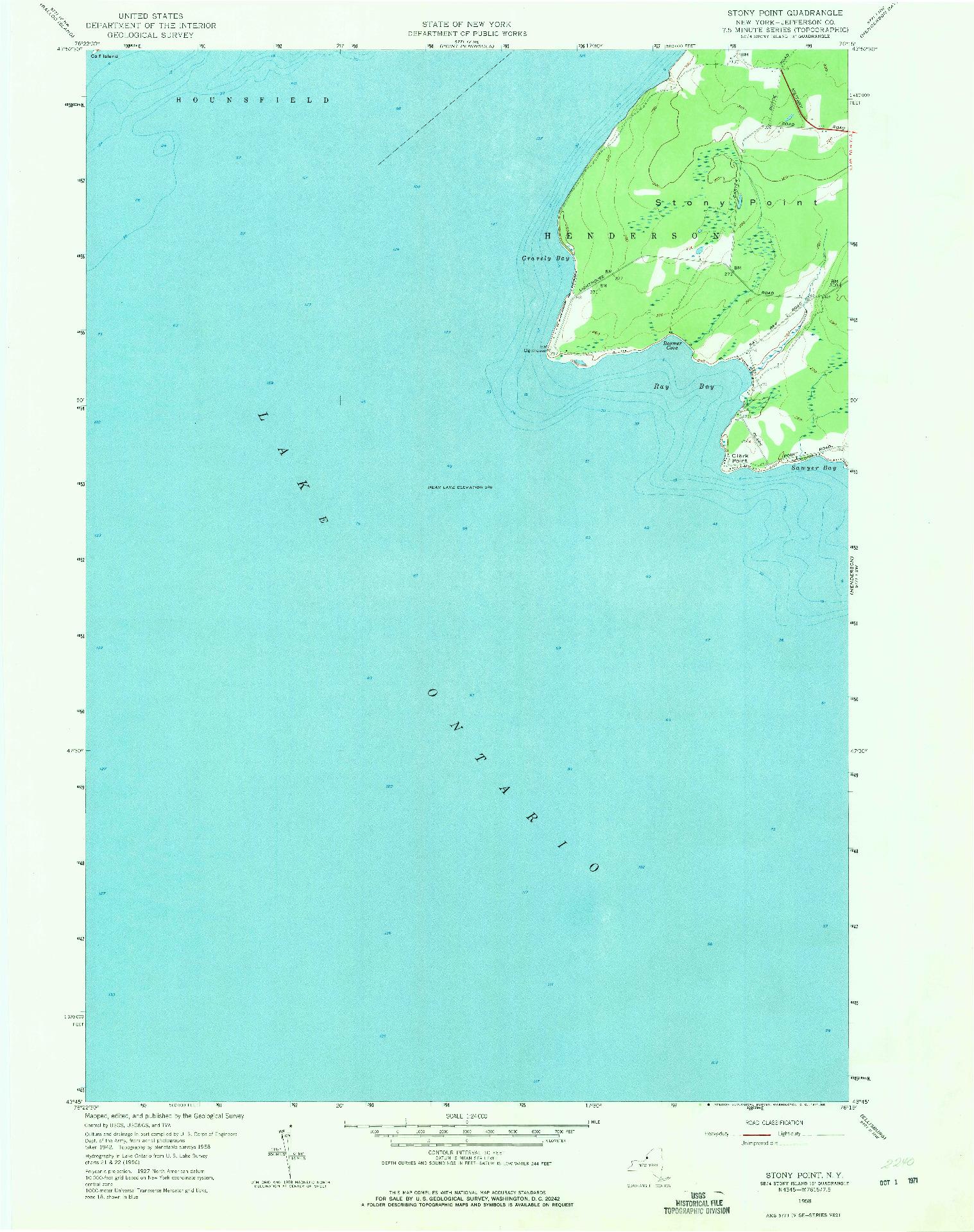 USGS 1:24000-SCALE QUADRANGLE FOR STONY POINT, NY 1958