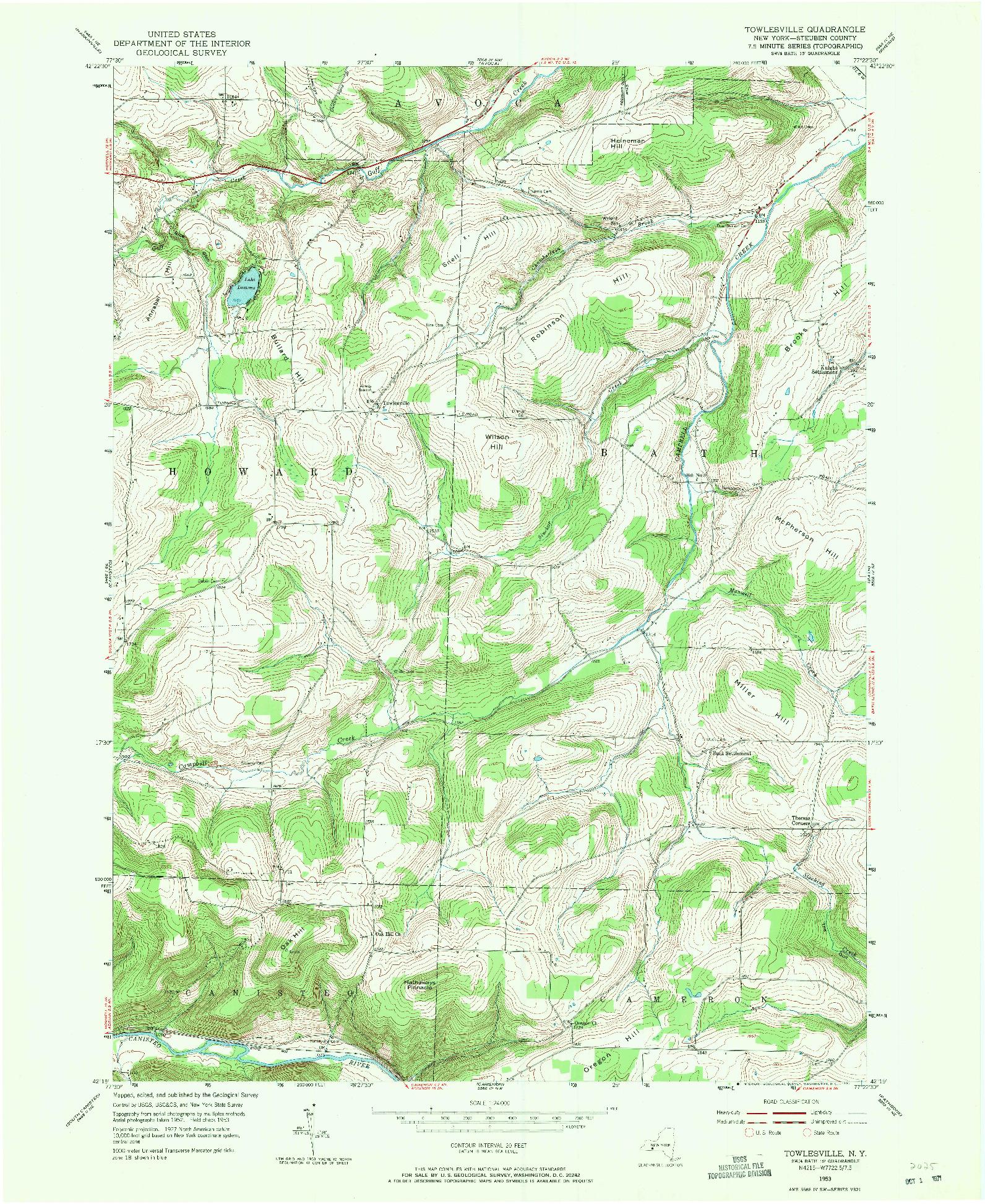 USGS 1:24000-SCALE QUADRANGLE FOR TOWLESVILLE, NY 1953
