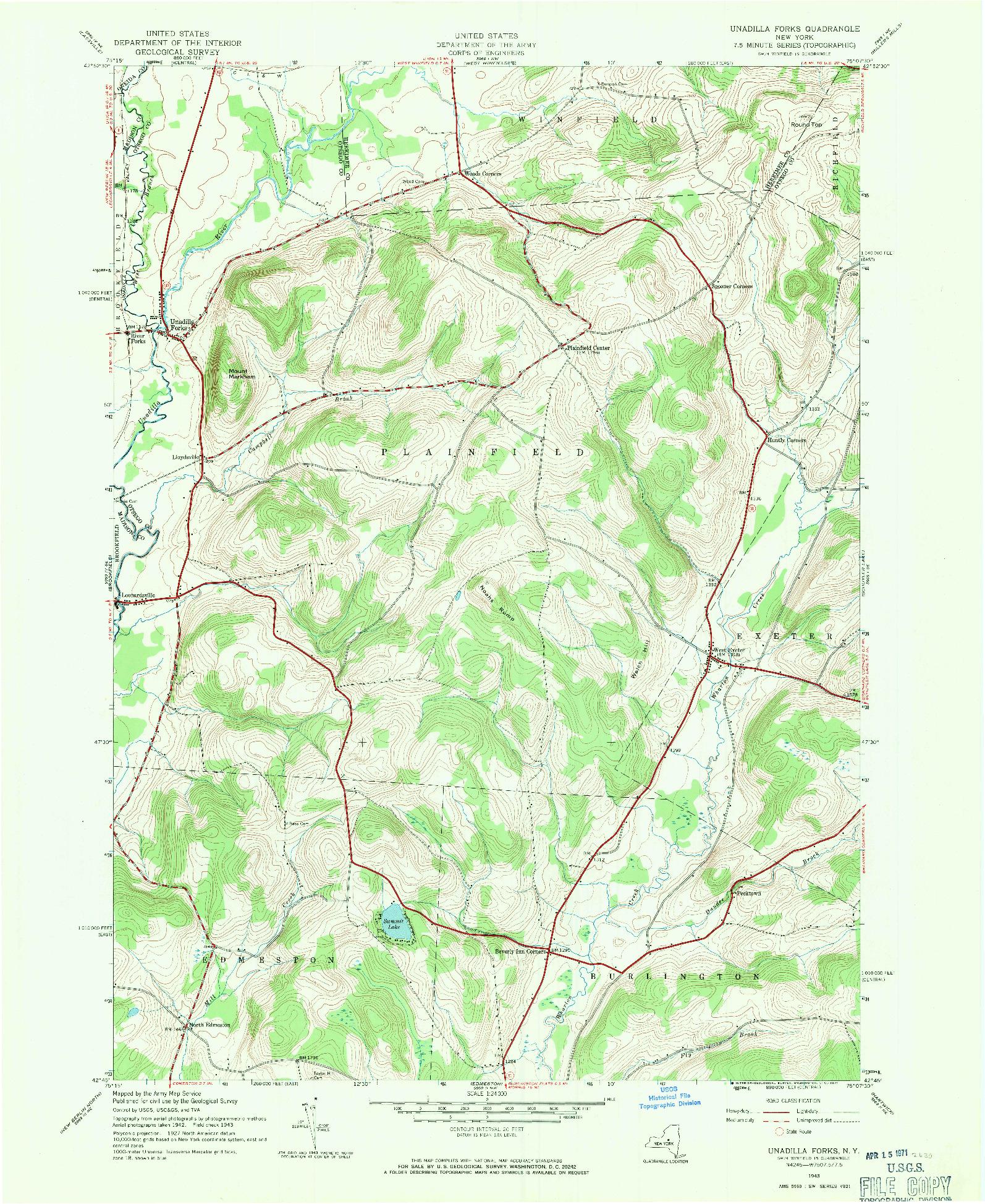 USGS 1:24000-SCALE QUADRANGLE FOR UNADILLA FORKS, NY 1943