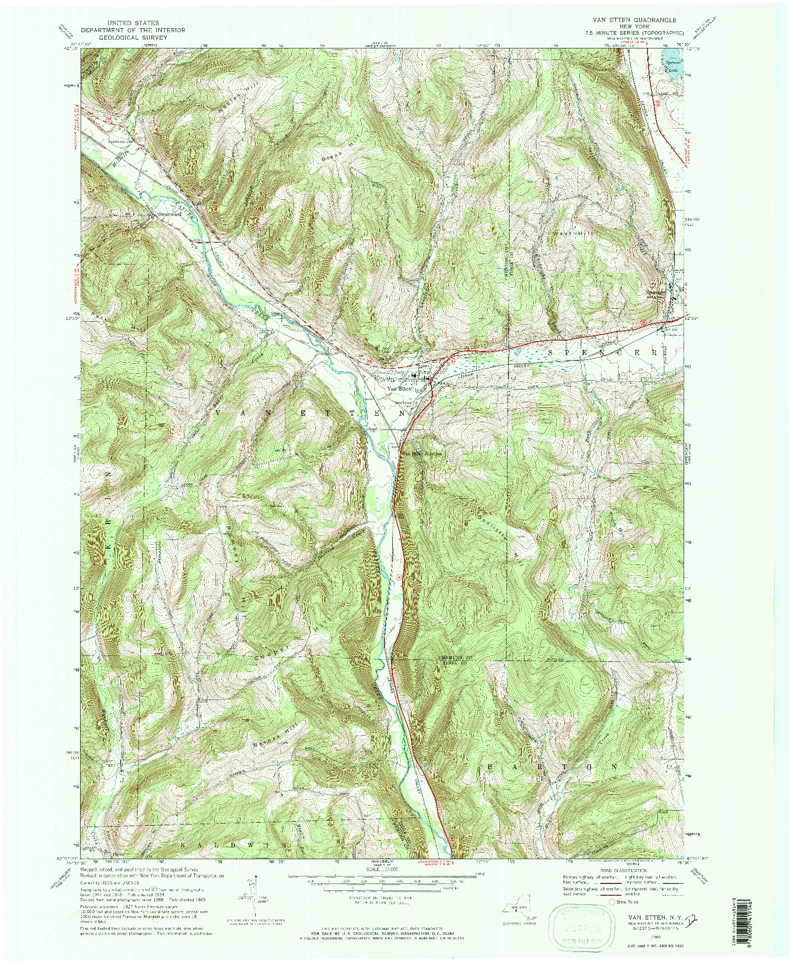 USGS 1:24000-SCALE QUADRANGLE FOR VAN ETTEN, NY 1969