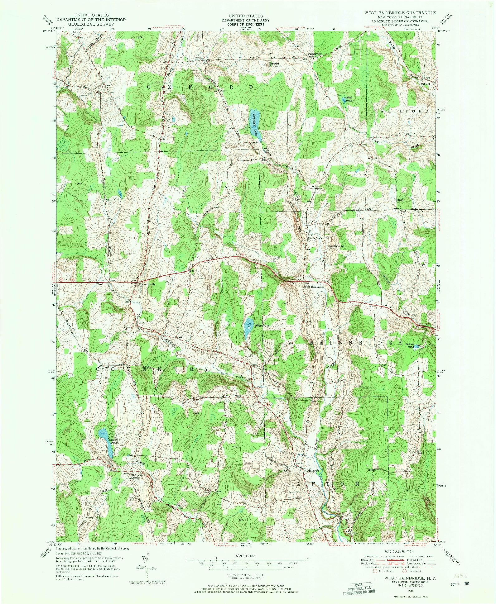 USGS 1:24000-SCALE QUADRANGLE FOR WEST BAINBRIDGE, NY 1949