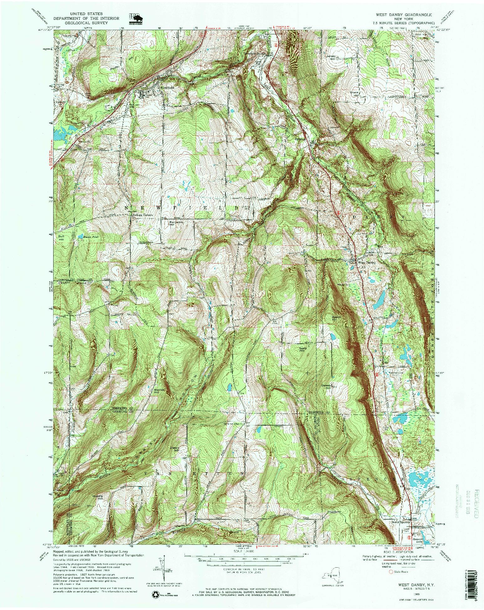 USGS 1:24000-SCALE QUADRANGLE FOR WEST DANBY, NY 1969