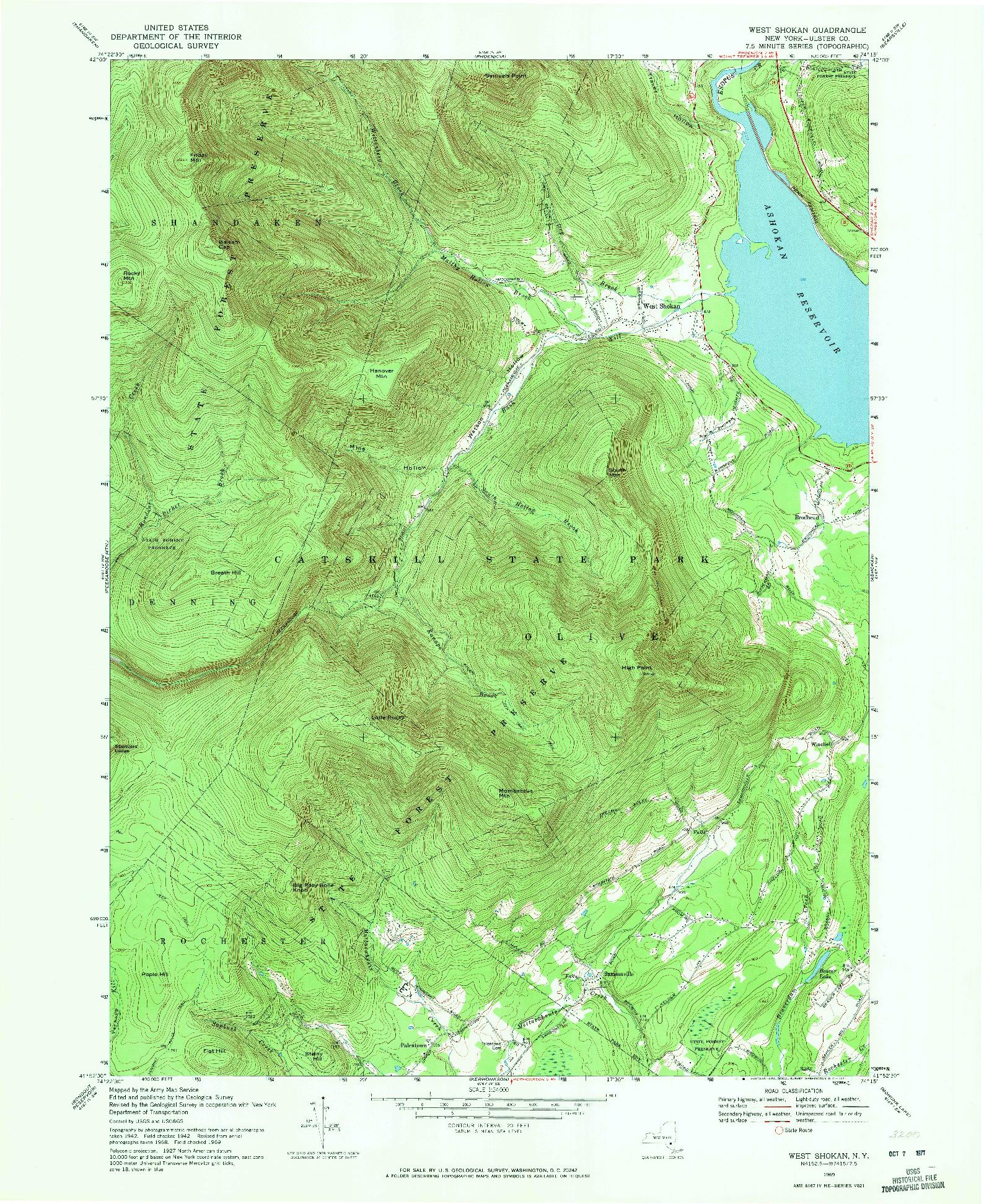 USGS 1:24000-SCALE QUADRANGLE FOR WEST SHOKAN, NY 1969