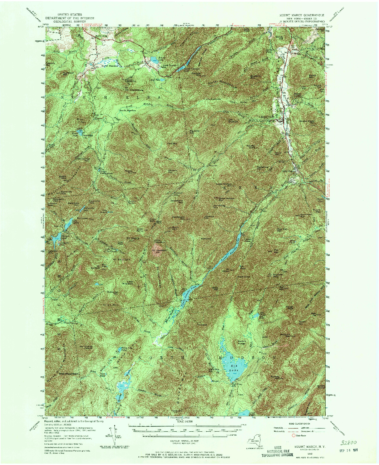 USGS 1:62500-SCALE QUADRANGLE FOR MOUNT MARCY, NY 1953