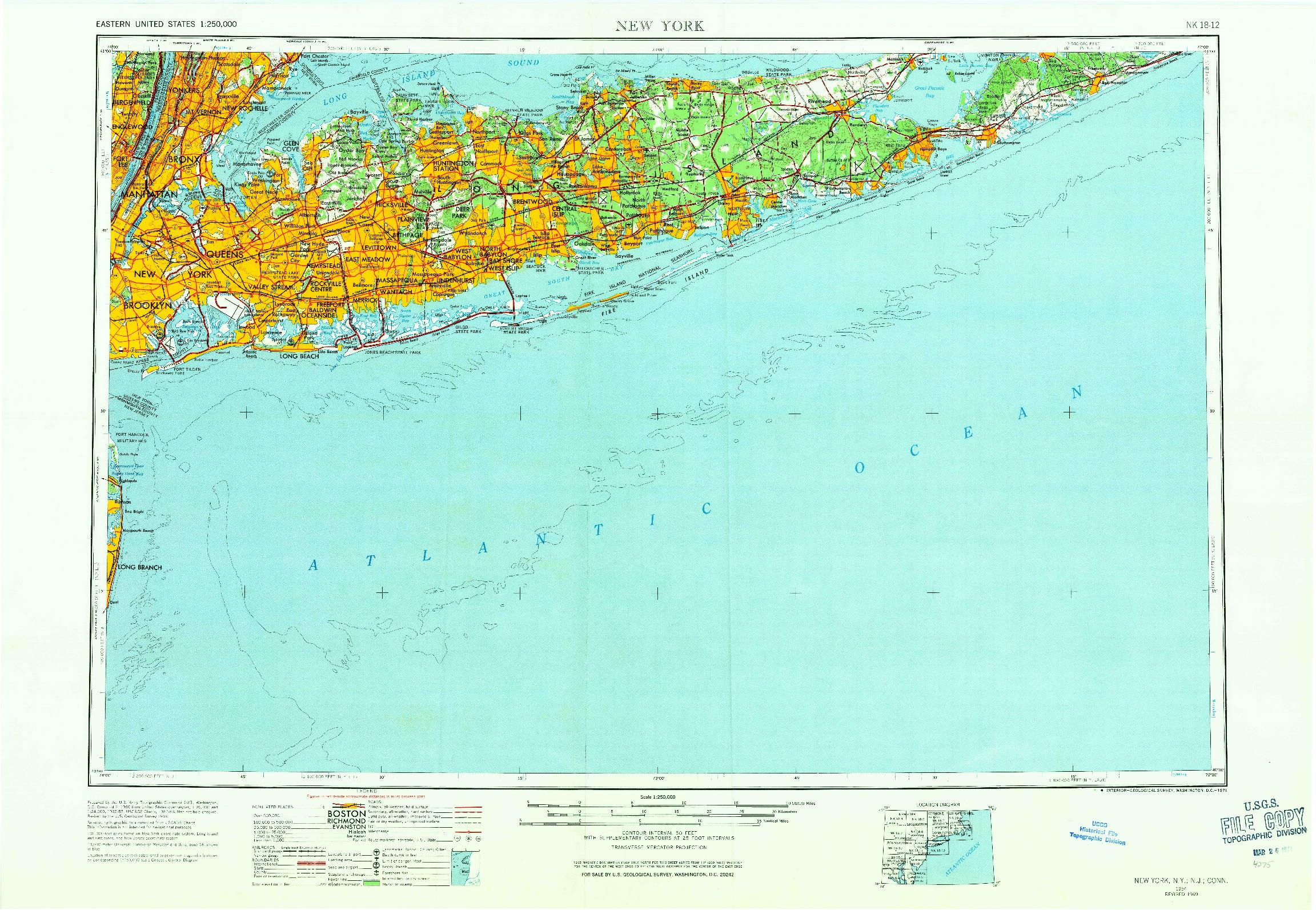 USGS 1:250000-SCALE QUADRANGLE FOR NEW YORK, NY 1954