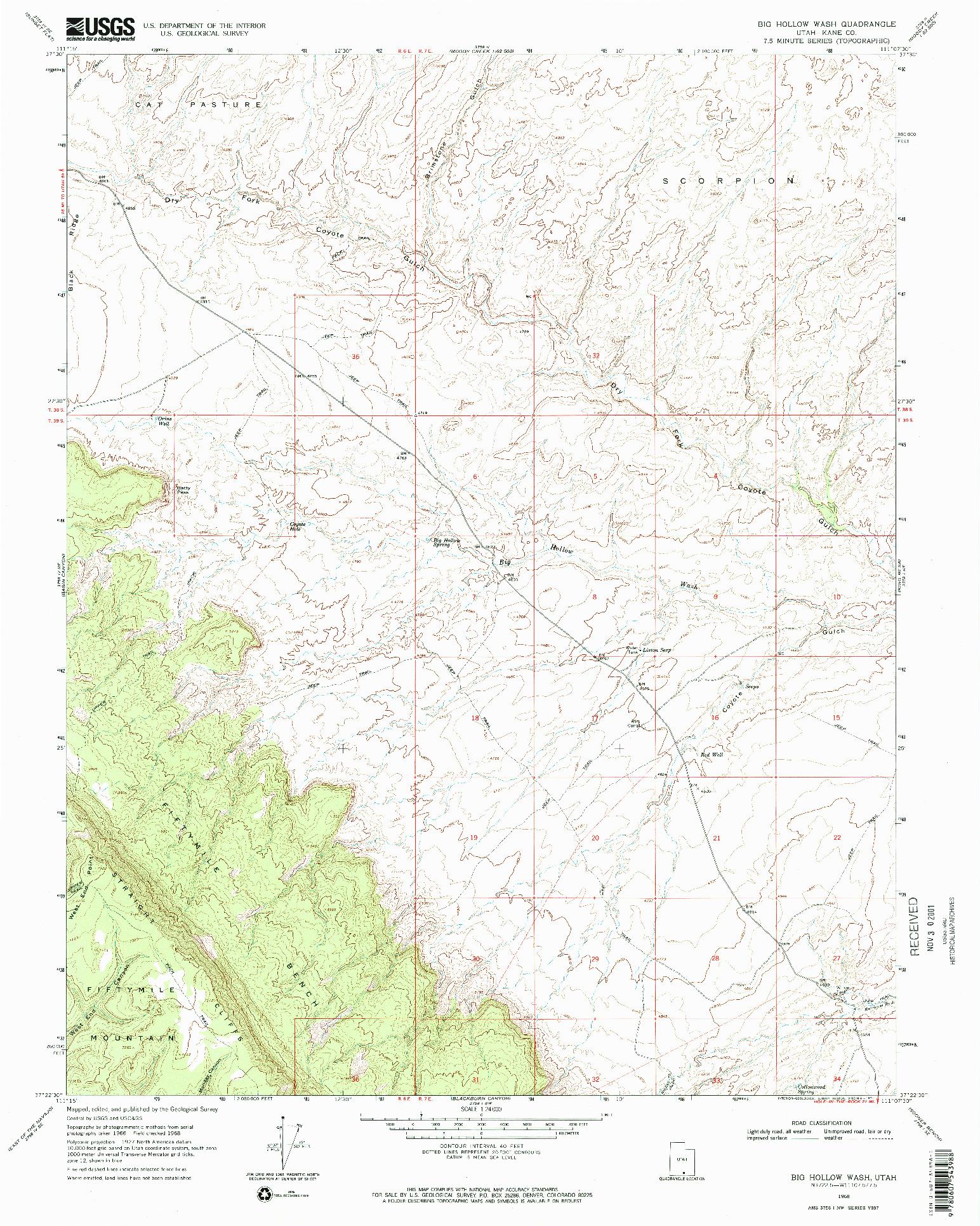 USGS 1:24000-SCALE QUADRANGLE FOR BIG HOLLOW WASH, UT 1968